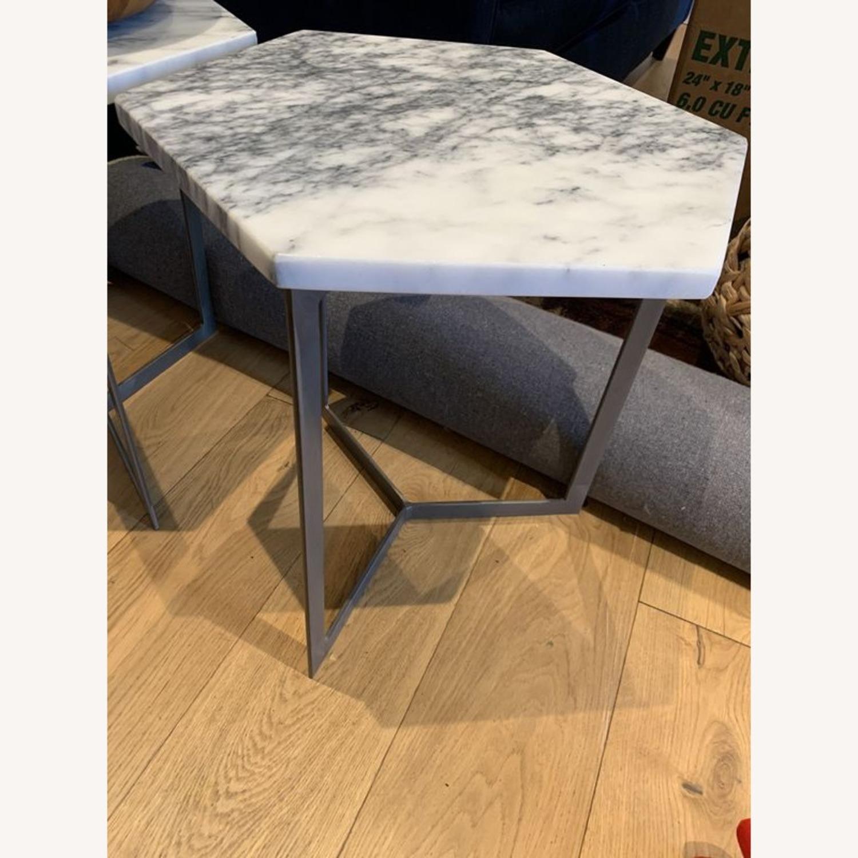 West Elm Hex Side Table Marble & Steel - image-3