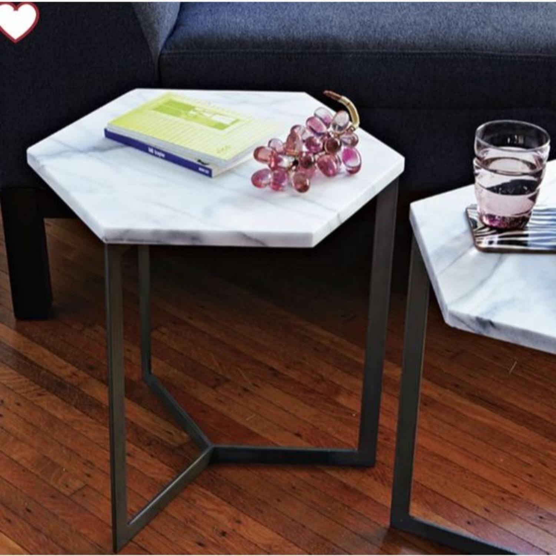 West Elm Hex Side Table Marble & Steel - image-0