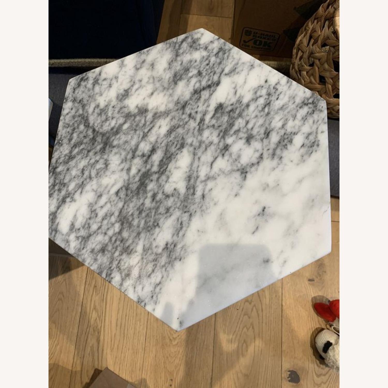 West Elm Hex Side Table Marble & Steel - image-4