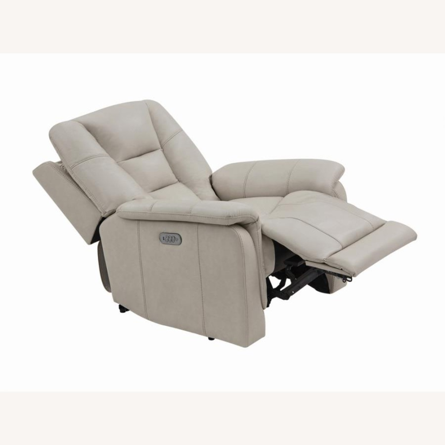 Power Recliner In Cream Top Grain Leather - image-1