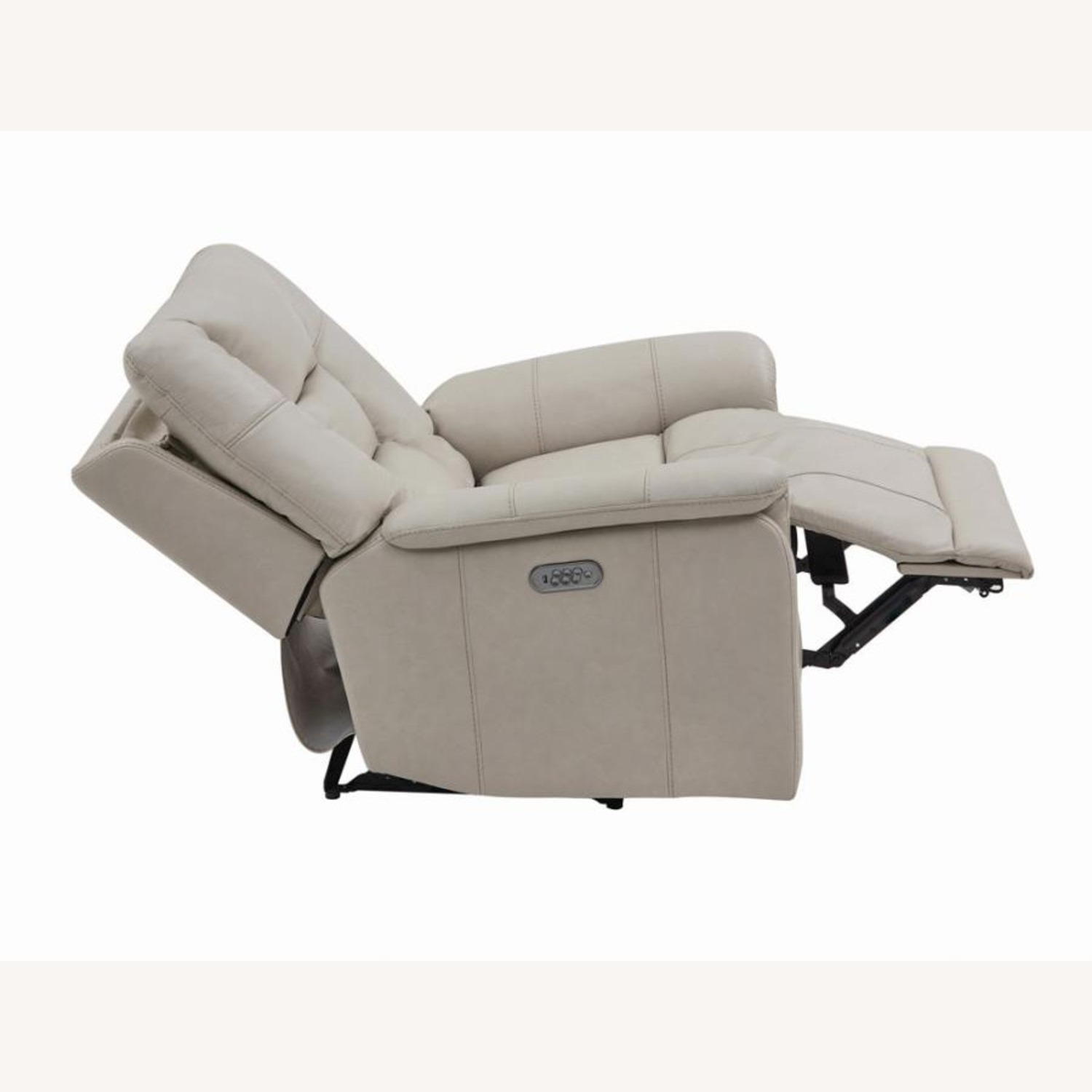 Power Recliner In Cream Top Grain Leather - image-3