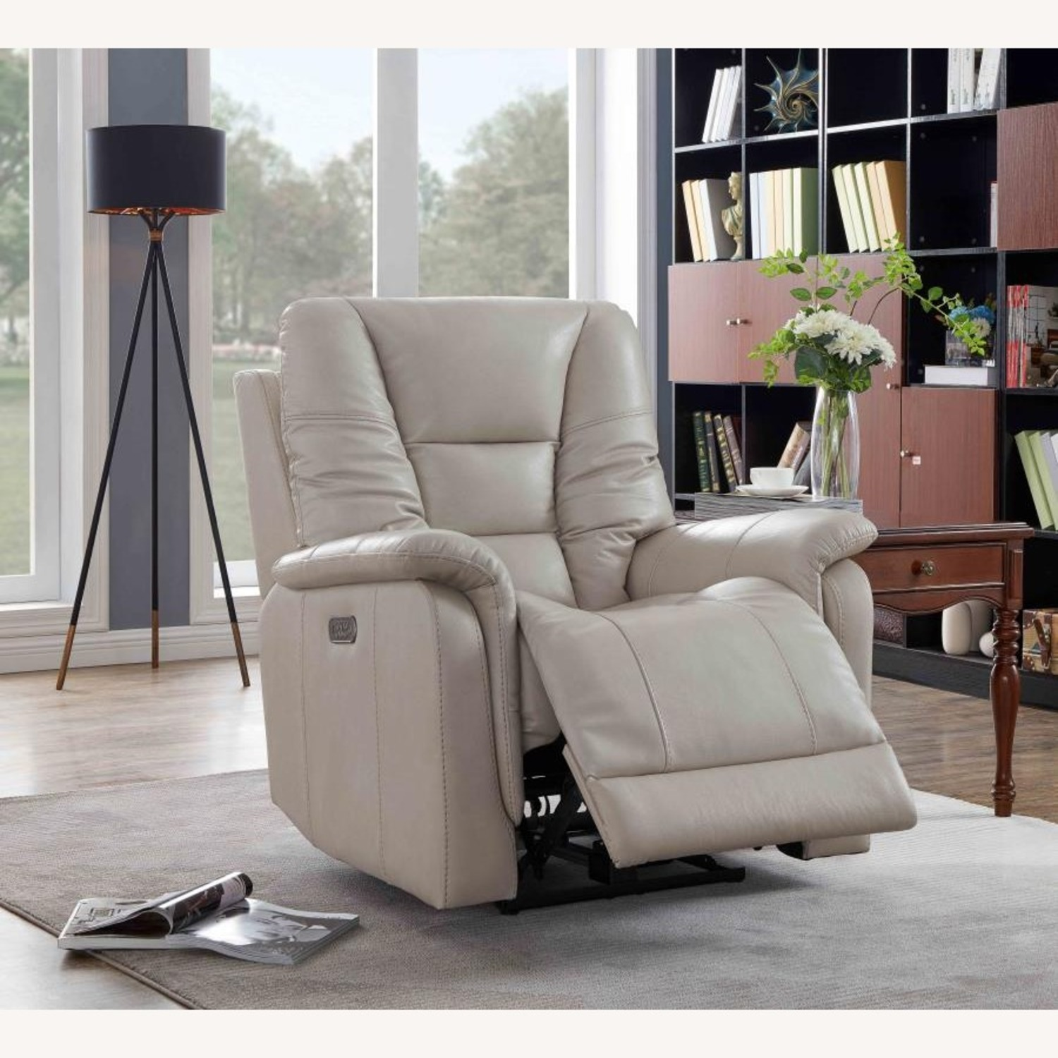 Power Recliner In Cream Top Grain Leather - image-8