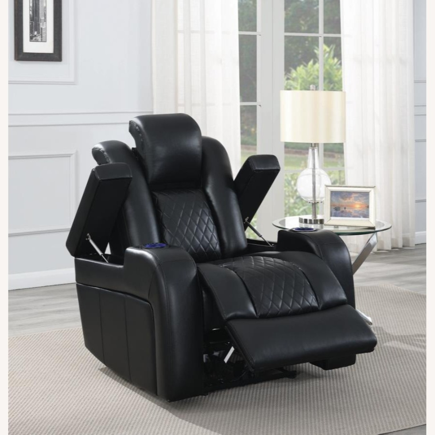 Power Recliner In Black Performance Leatherette - image-8