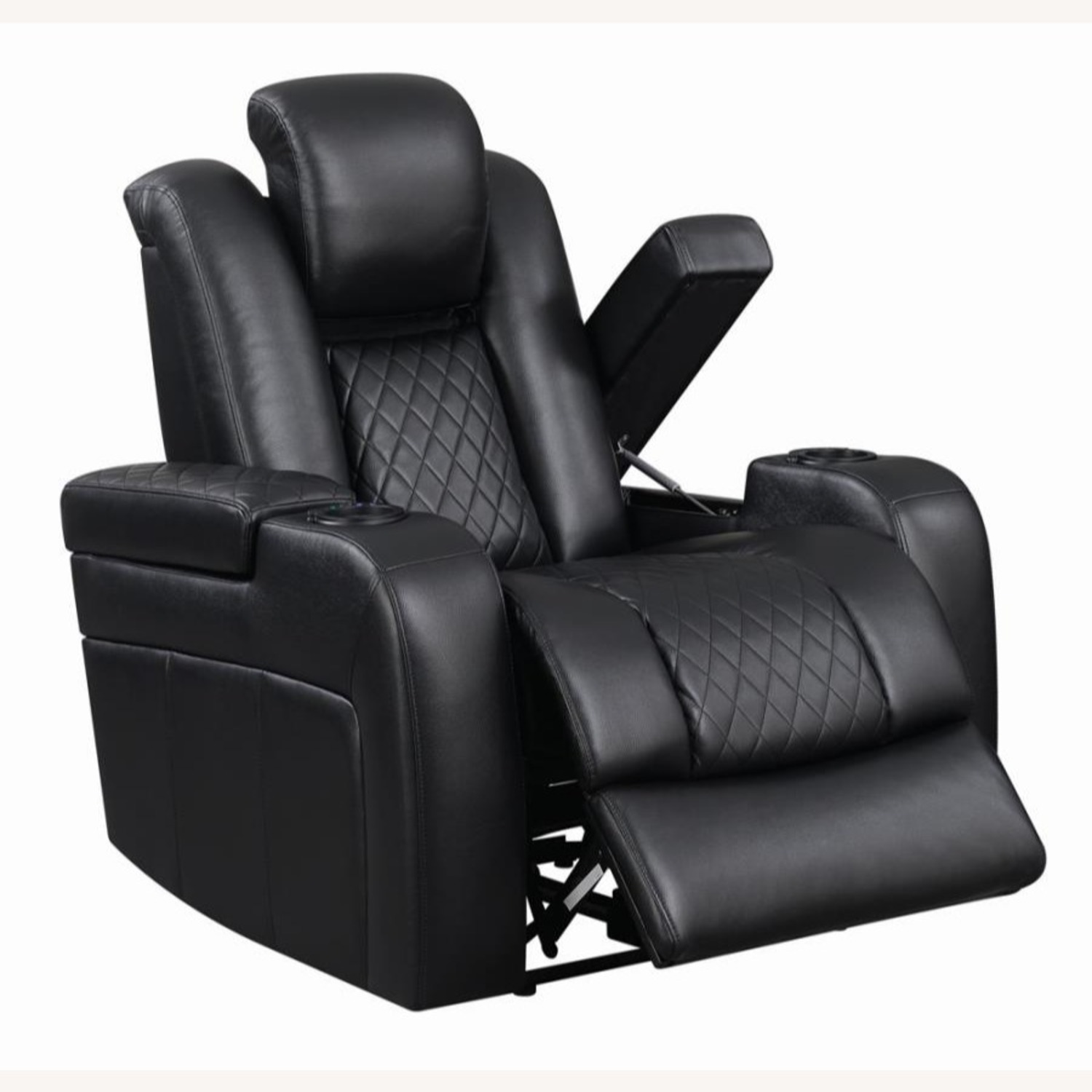 Power Recliner In Black Performance Leatherette - image-1