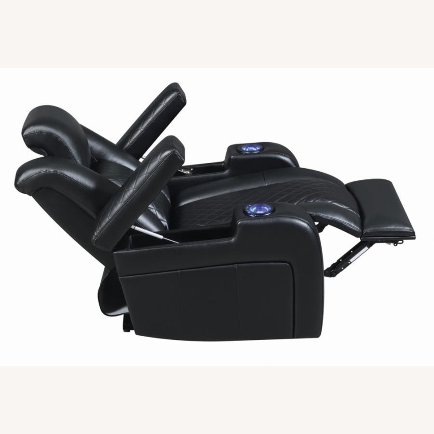 Power Recliner In Black Performance Leatherette - image-3