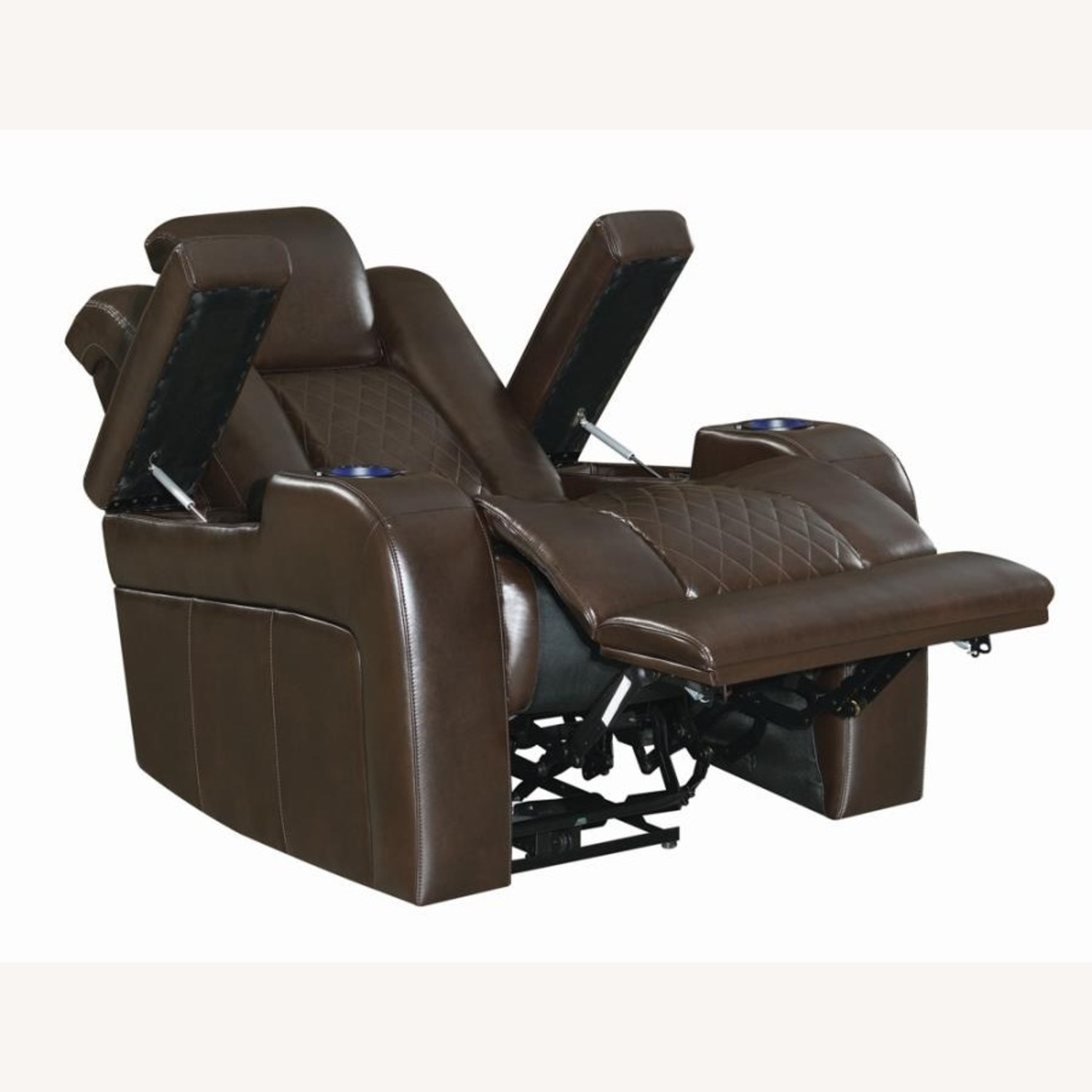 Power Recliner In Brown Performance Leatherette - image-4