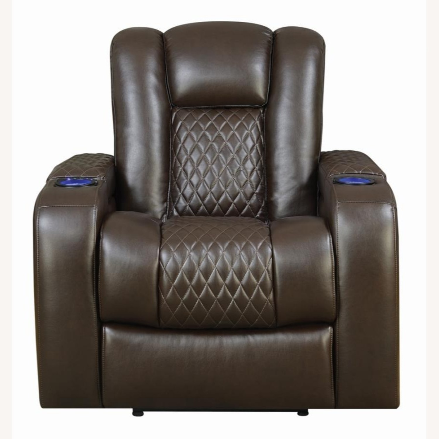 Power Recliner In Brown Performance Leatherette - image-1