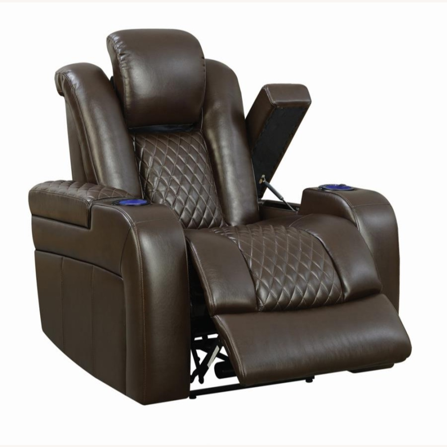 Power Recliner In Brown Performance Leatherette - image-2