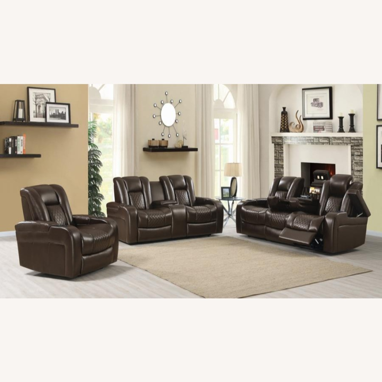 Power Recliner In Brown Performance Leatherette - image-9