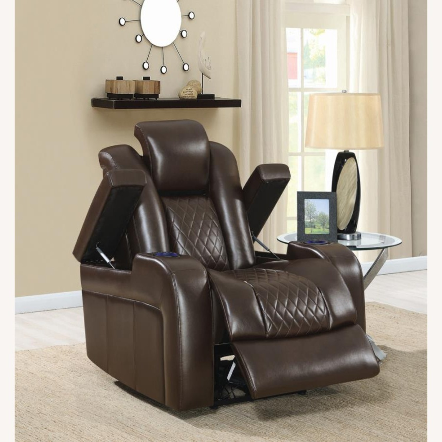 Power Recliner In Brown Performance Leatherette - image-8
