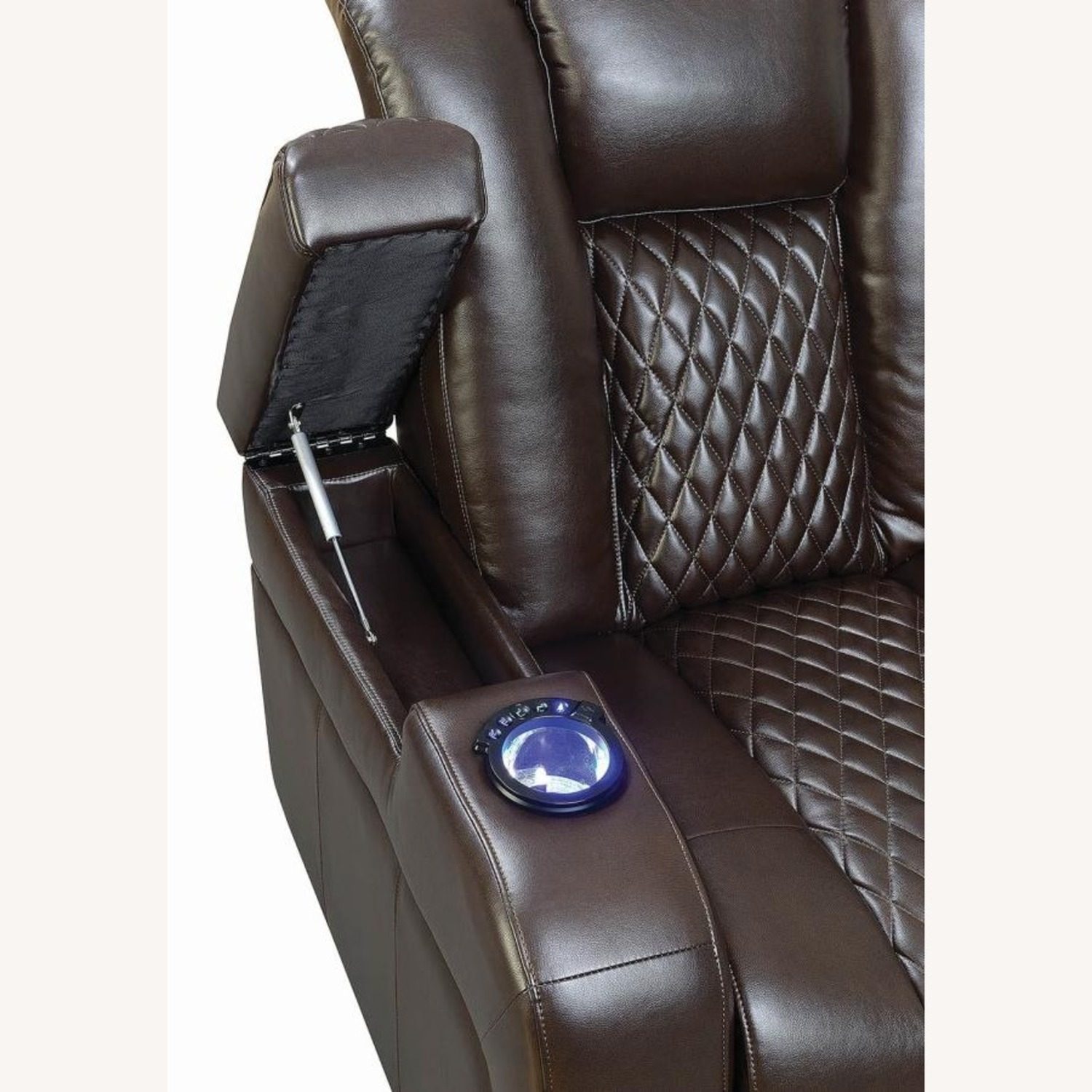 Power Recliner In Brown Performance Leatherette - image-3