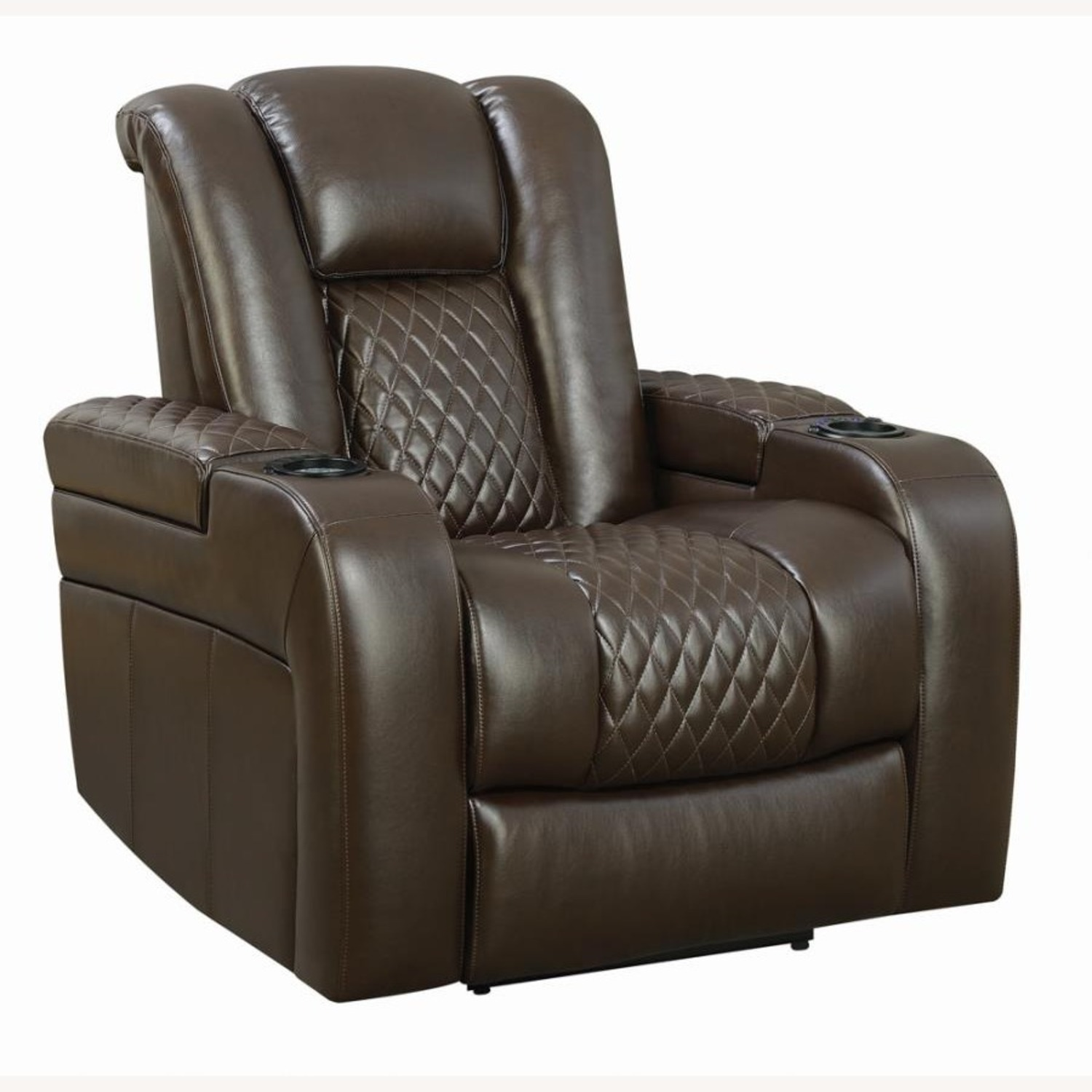 Power Recliner In Brown Performance Leatherette - image-0