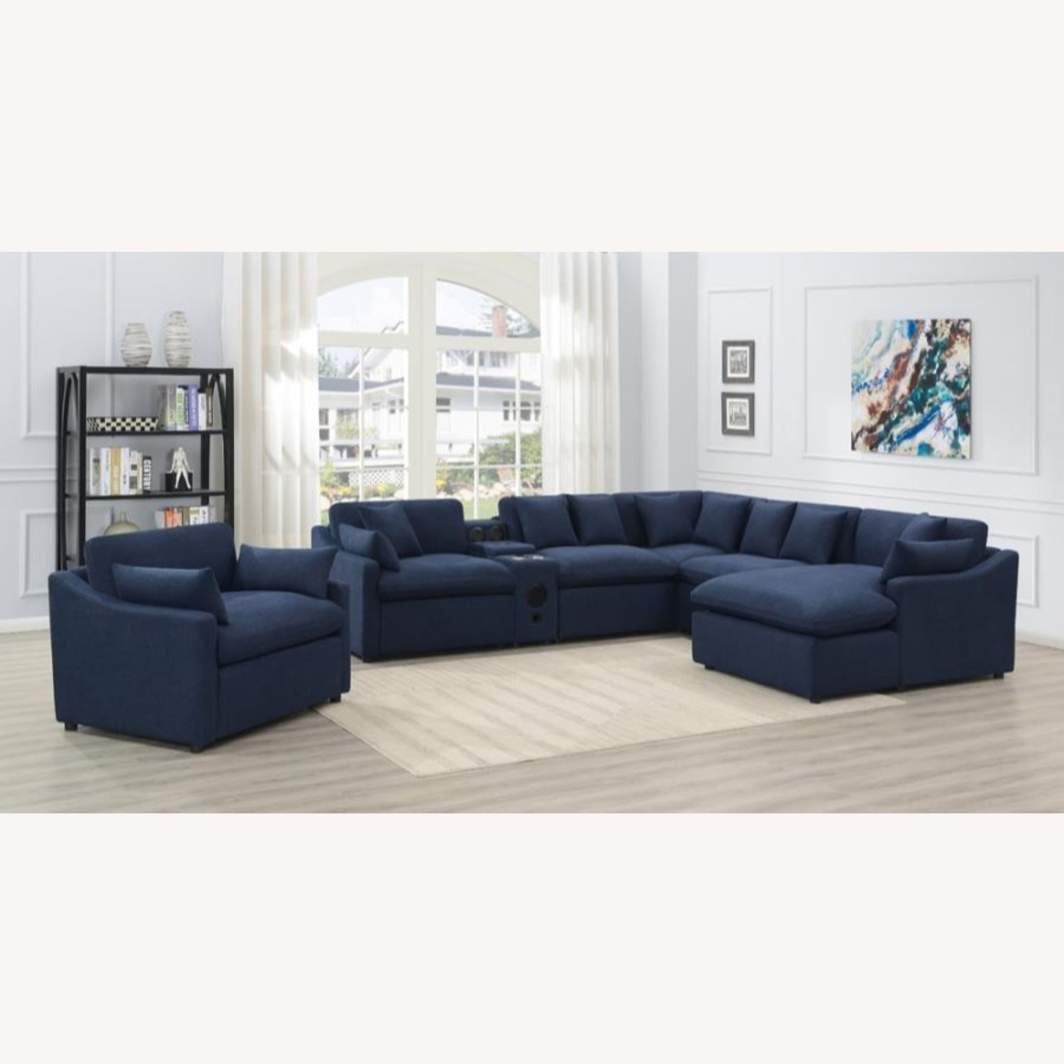 Power Recliner In Linen-Like Midnight Blue Fabric - image-4