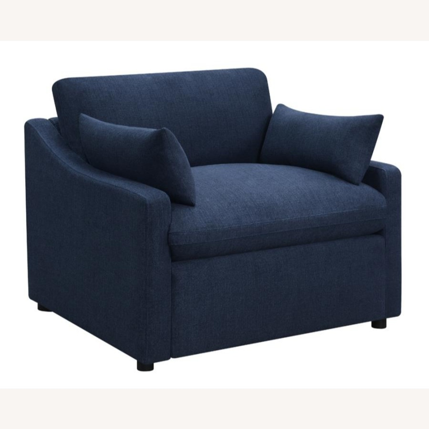 Power Recliner In Linen-Like Midnight Blue Fabric - image-0