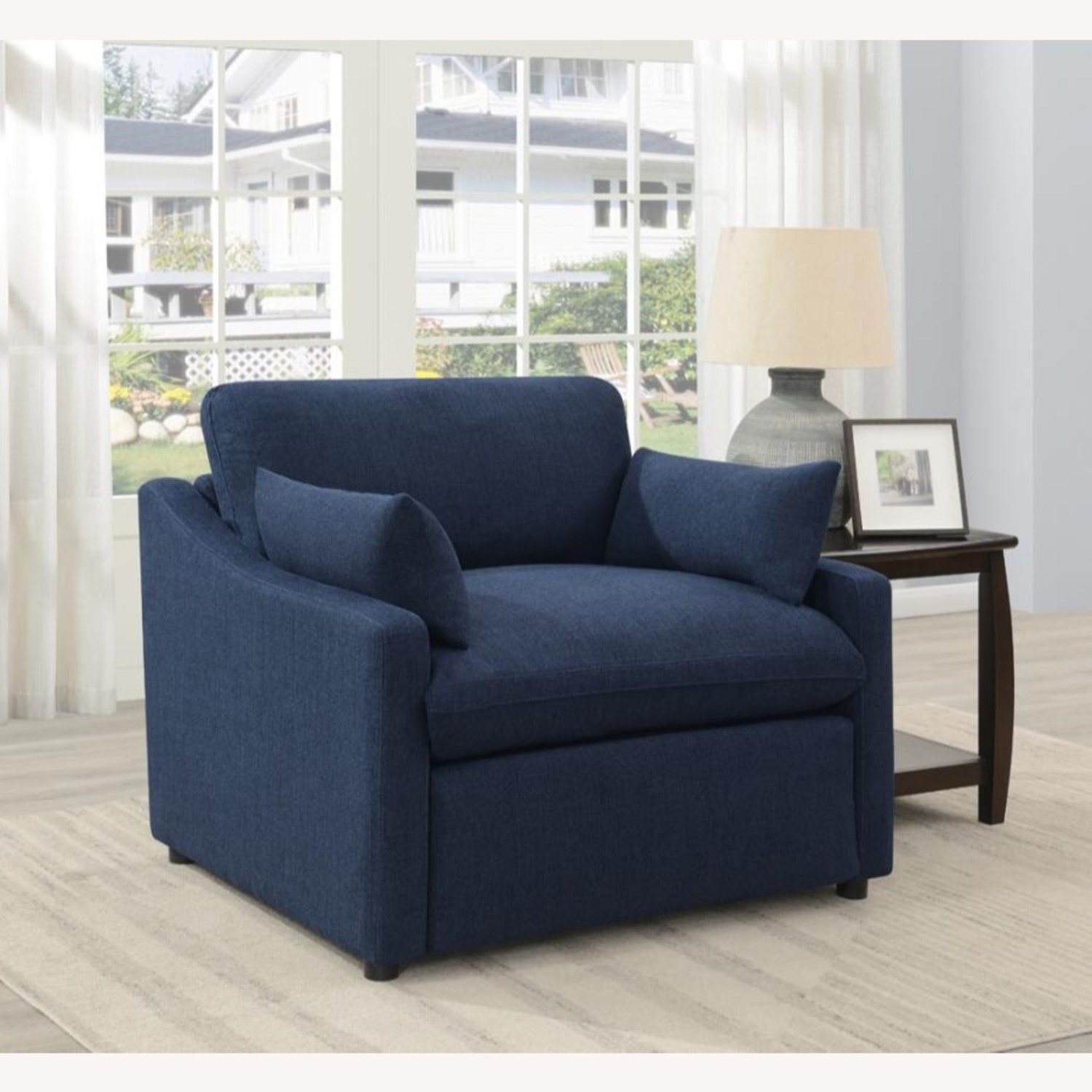 Power Recliner In Linen-Like Midnight Blue Fabric - image-3
