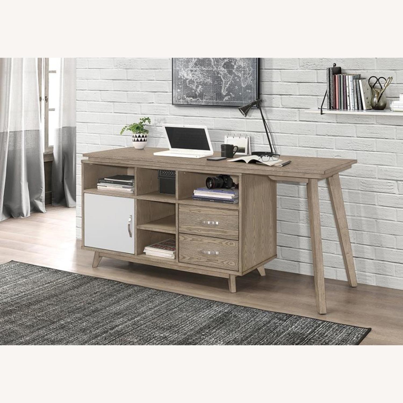 Modern Writing Desk In 2-Tone Grey Finish - image-0