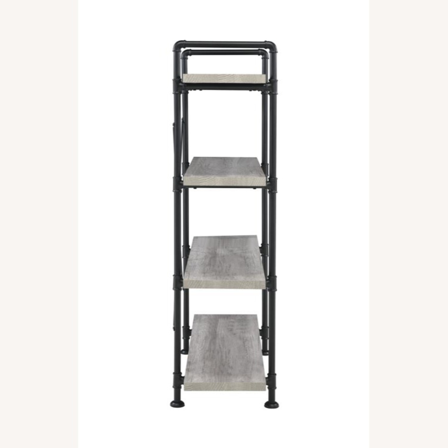 Bookcase In Grey Driftwood Finish & Black Metal - image-2