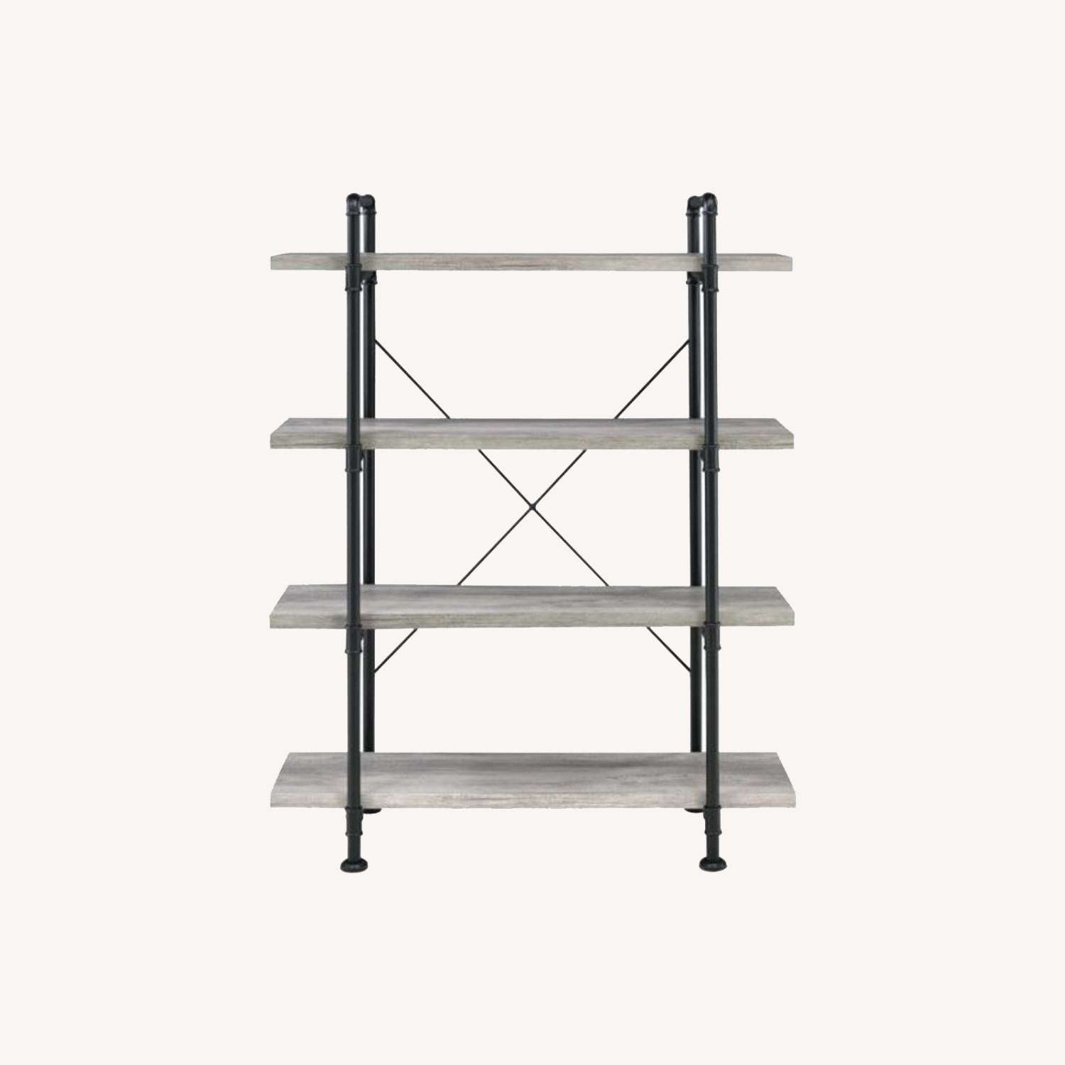 Bookcase In Grey Driftwood Finish & Black Metal - image-5