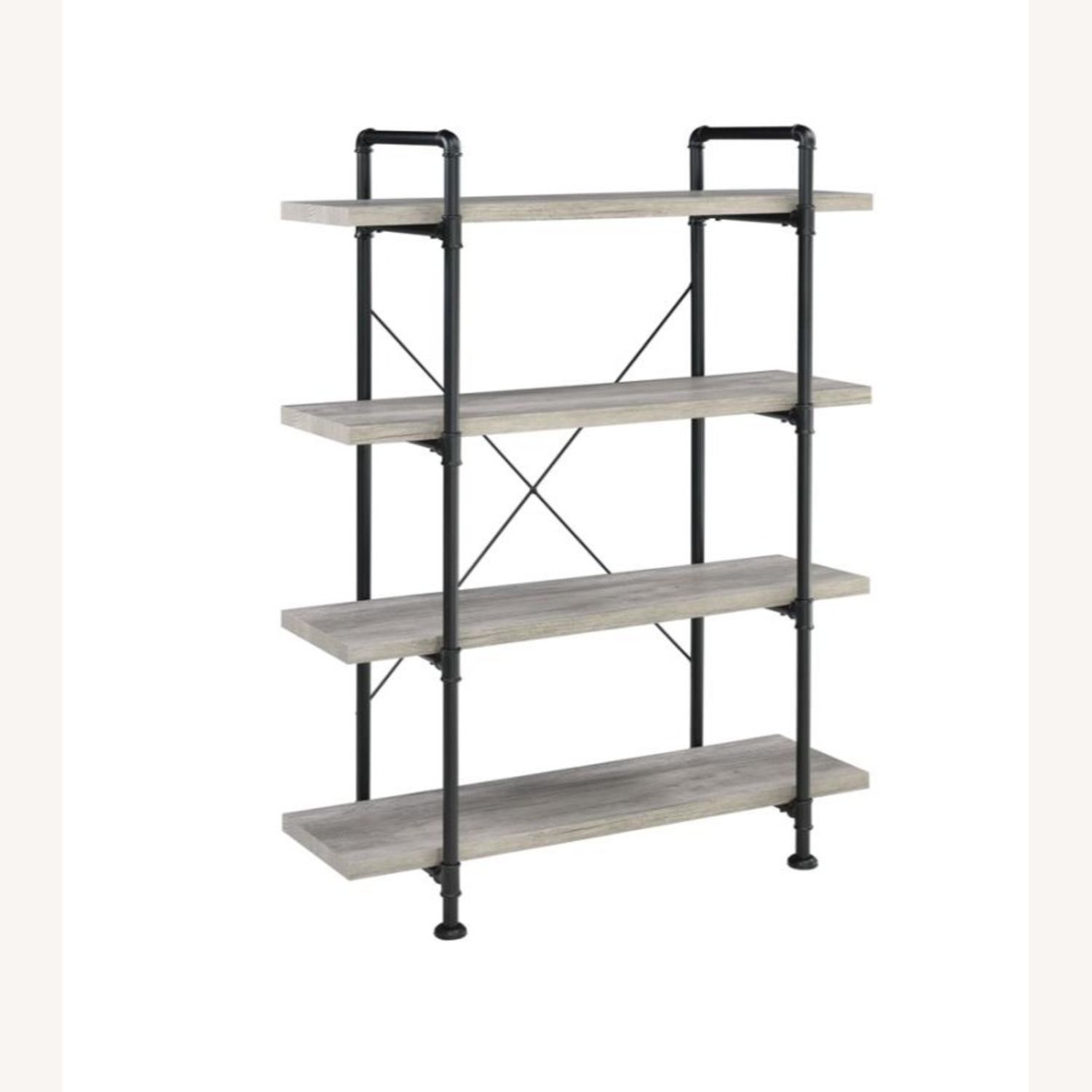 Bookcase In Grey Driftwood Finish & Black Metal - image-0