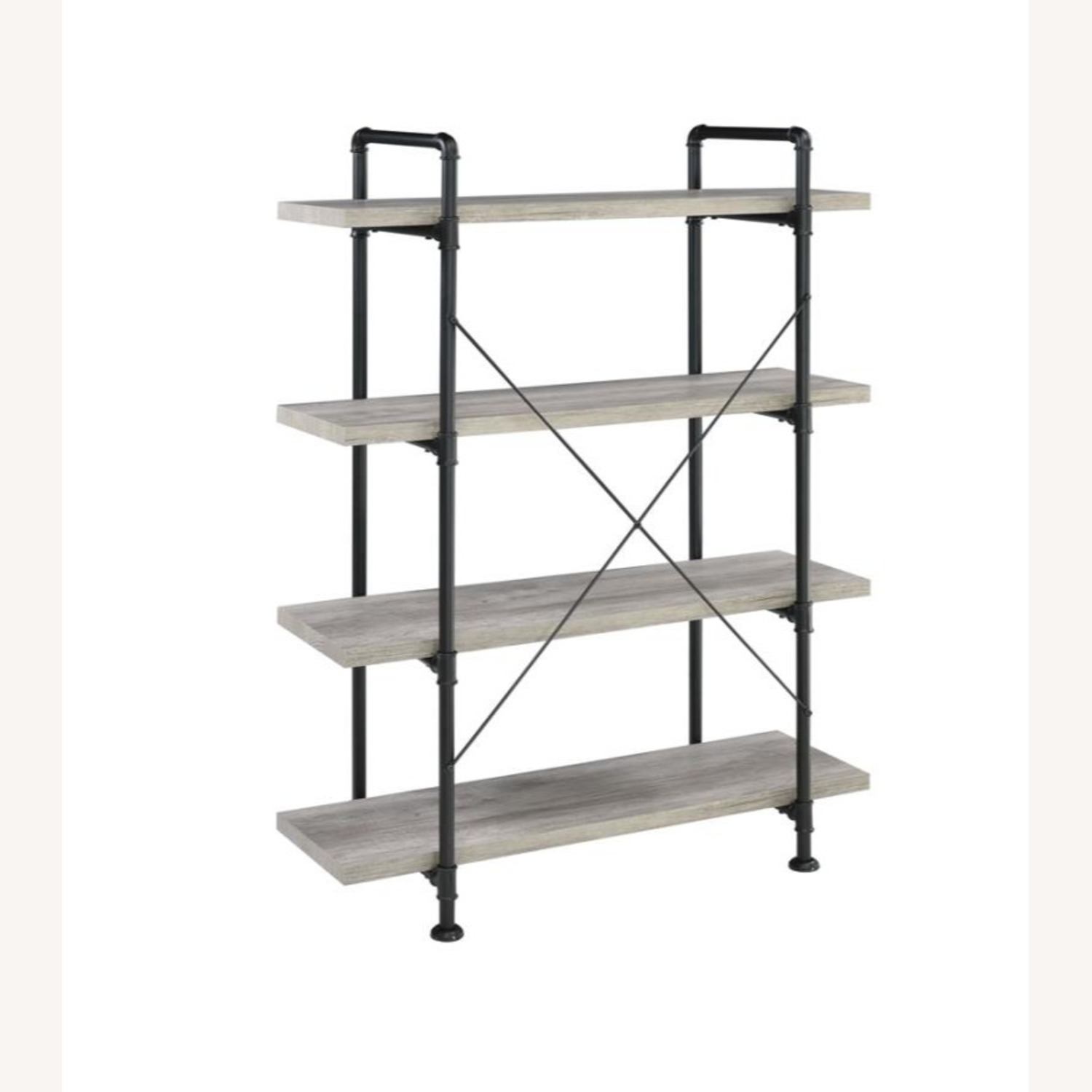 Bookcase In Grey Driftwood Finish & Black Metal - image-3