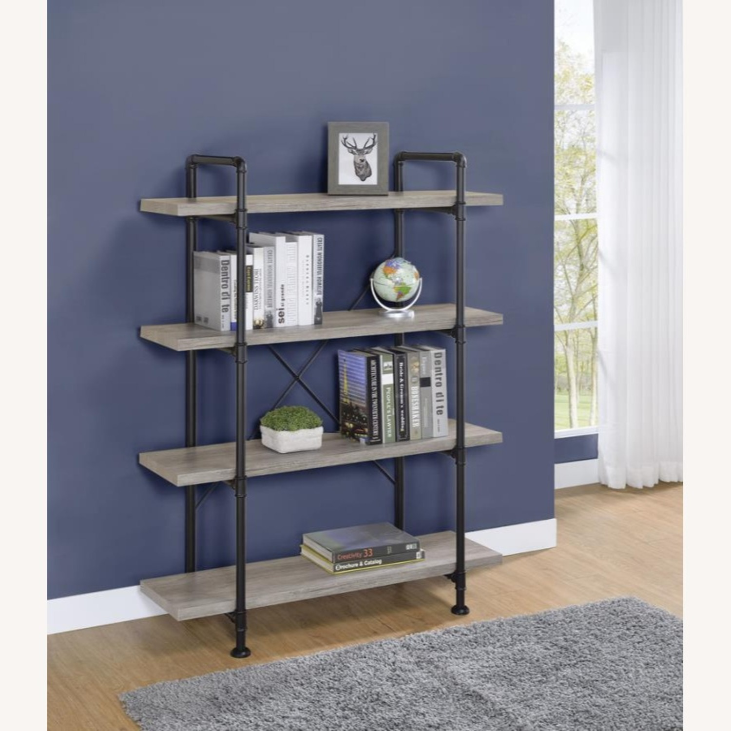Bookcase In Grey Driftwood Finish & Black Metal - image-4