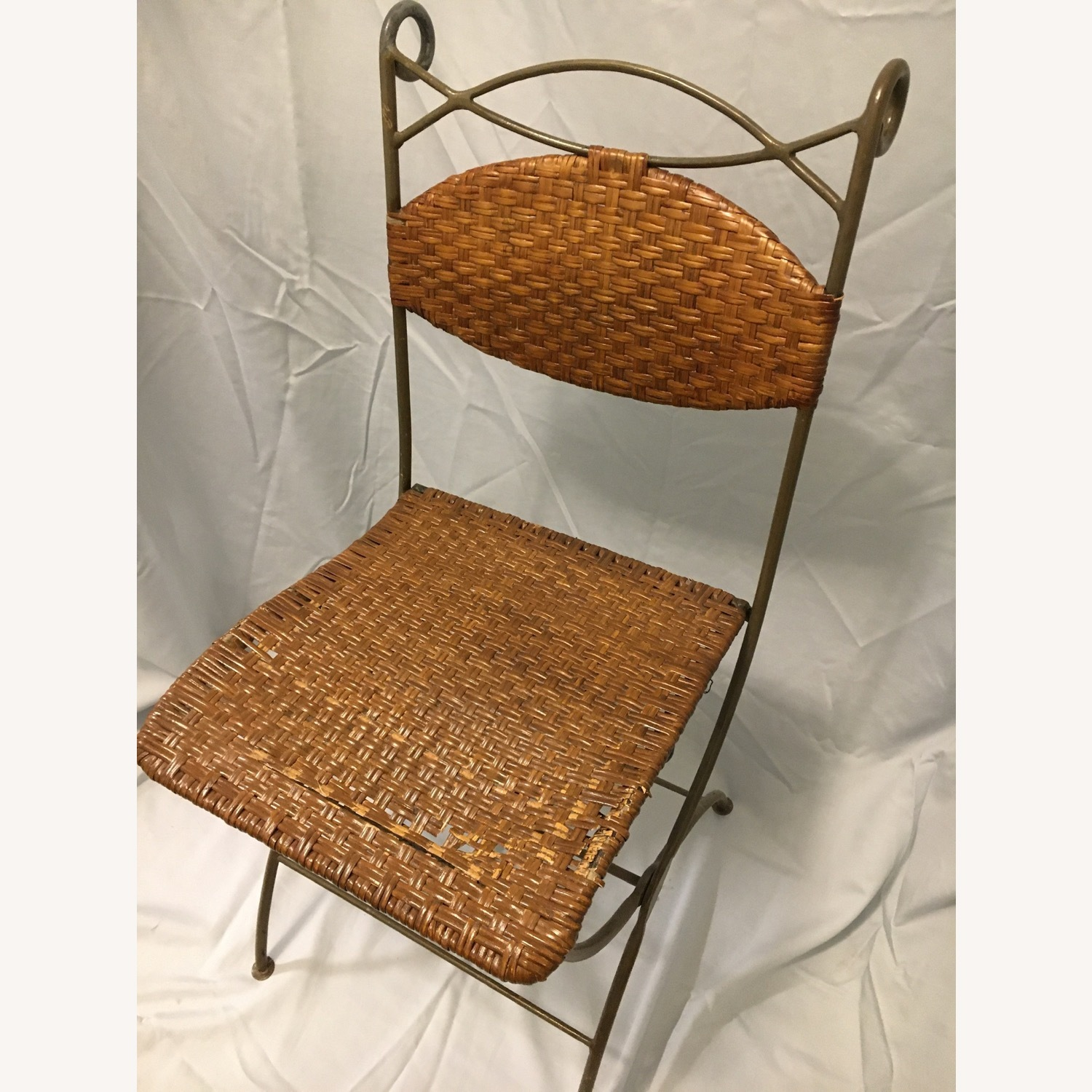 Metal and Rattan Folding Chairs - image-5