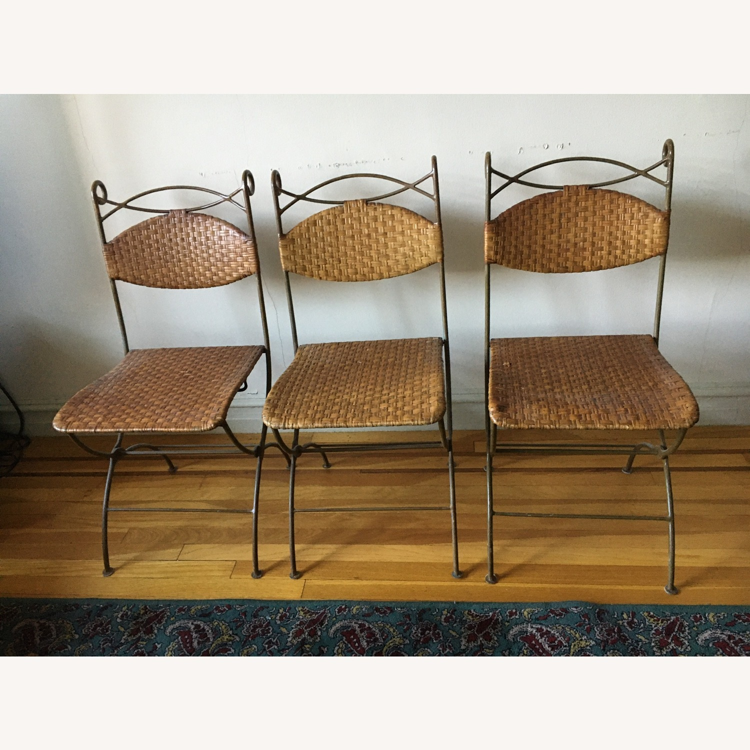 Metal and Rattan Folding Chairs - image-1