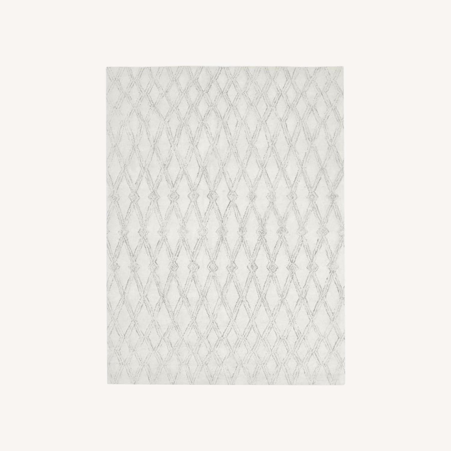 West Elm Hazy Lattice Rug, Ivory - image-0