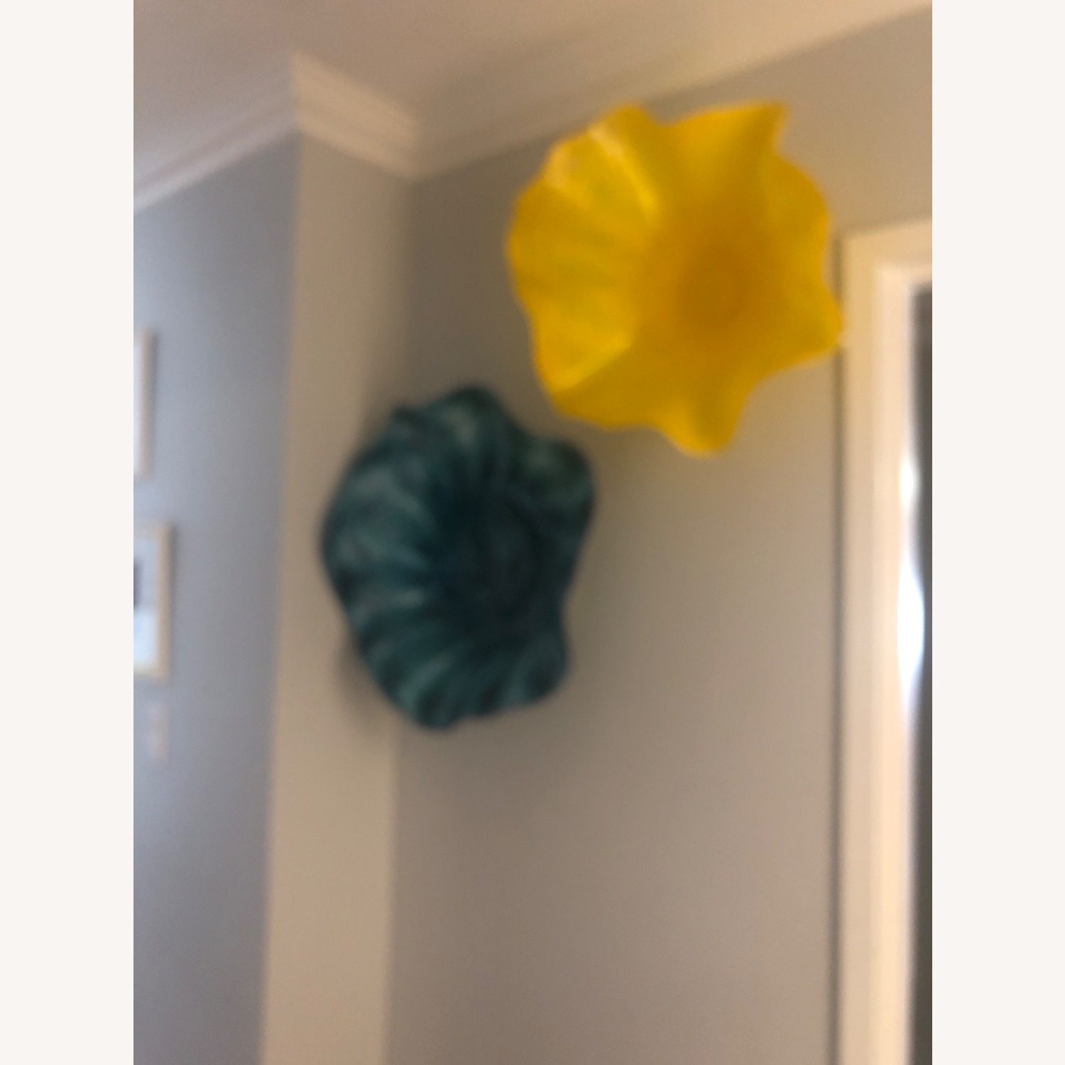 Blown Glass Wall Art Yellow and Turquoise - image-1