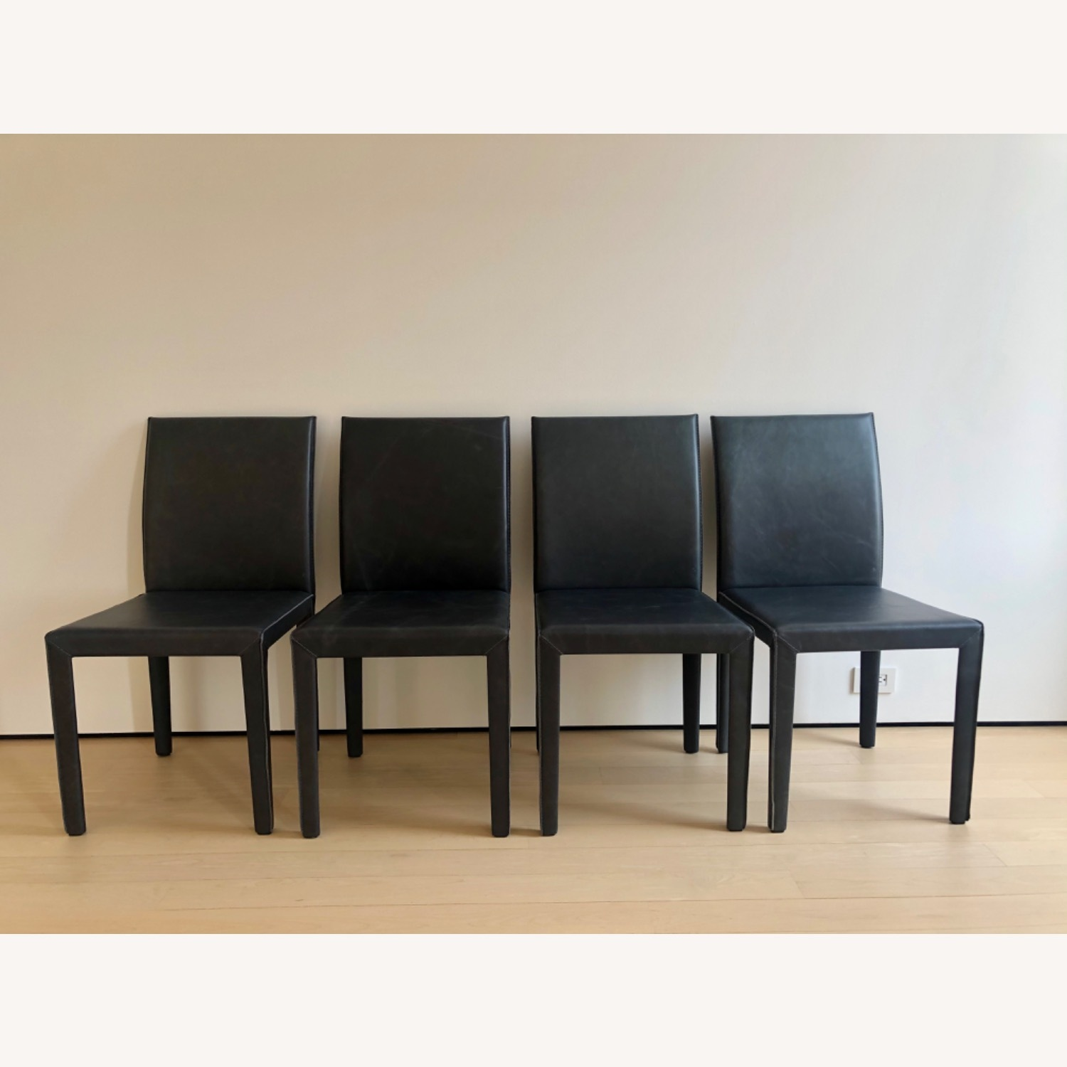 Crate & Barrel Leather Dining Chairs - image-2