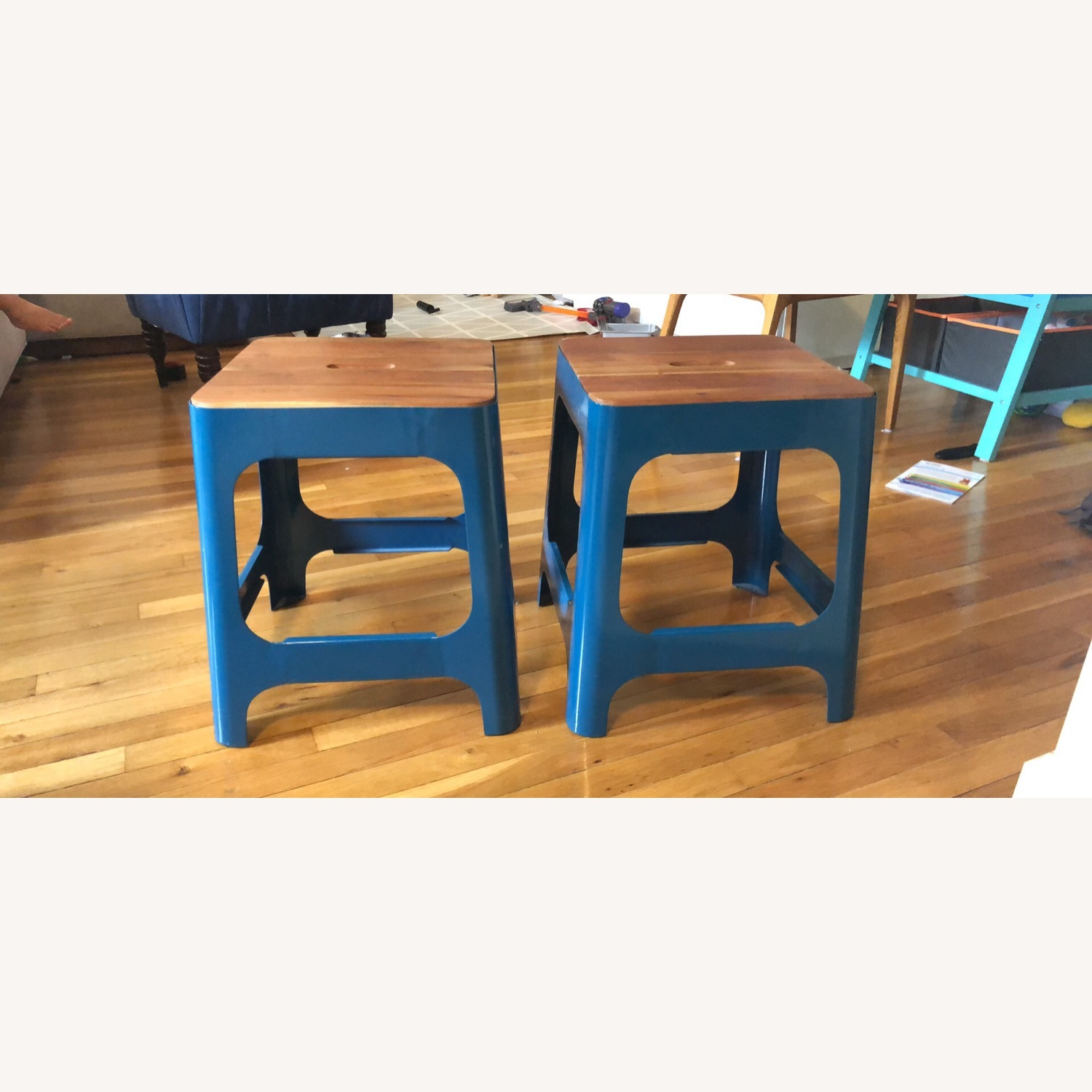 CB2 Hitch Stool in Peacock blue - image-3