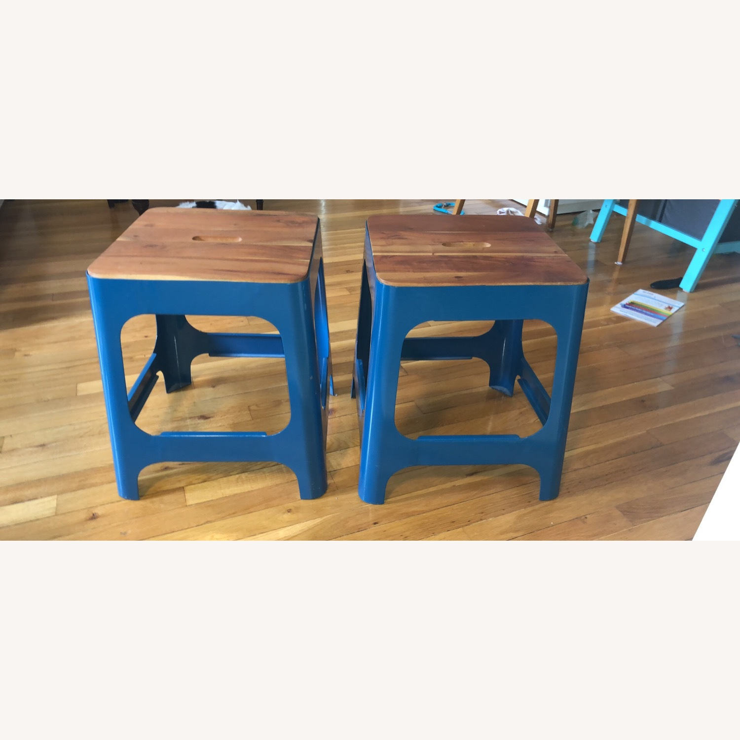 CB2 Hitch Stool in Peacock blue - image-5