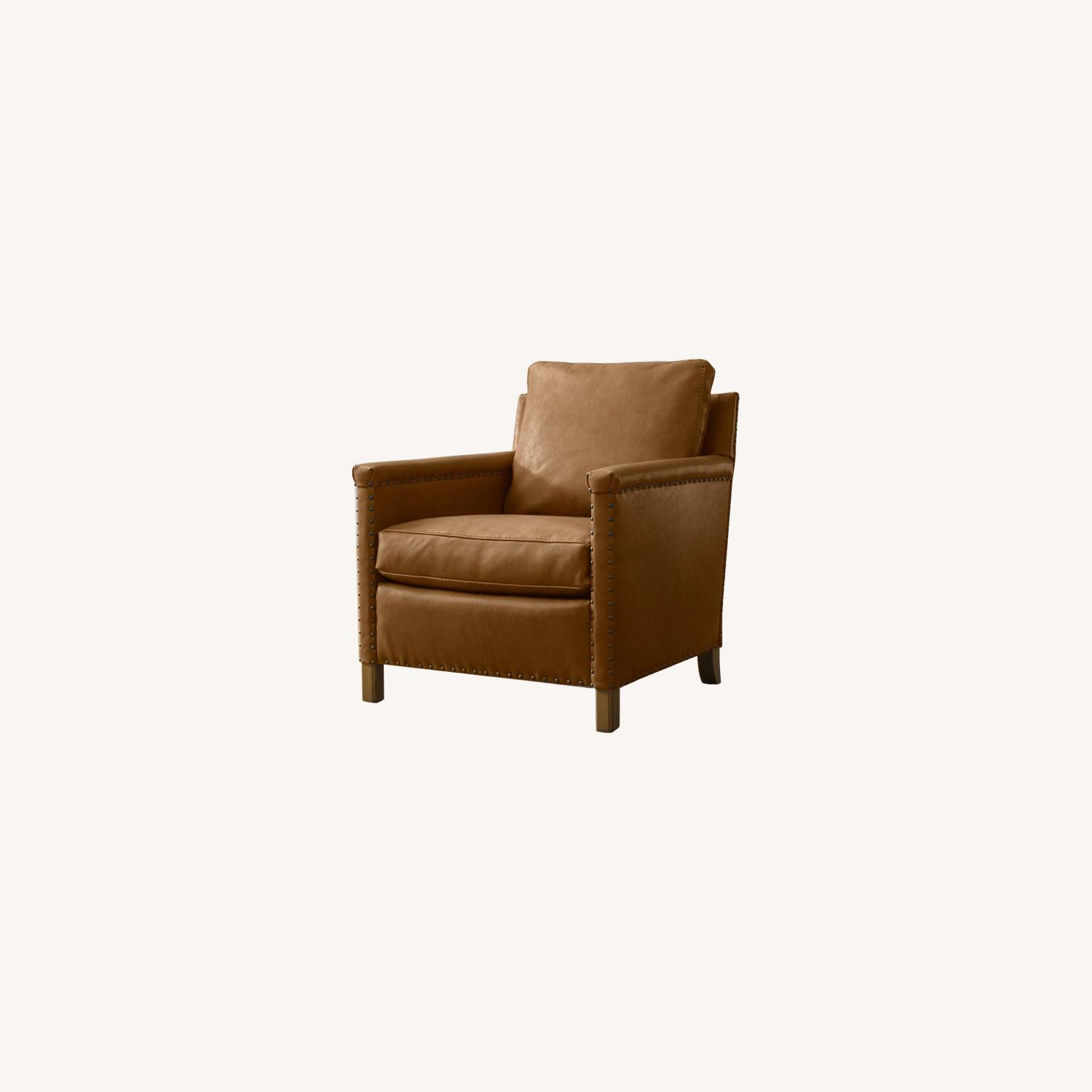 Crate & Barrel Soft Brown Leather Armchair - image-0
