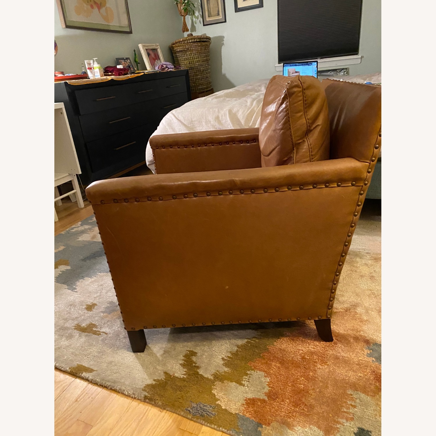 Crate & Barrel Soft Brown Leather Armchair - image-3