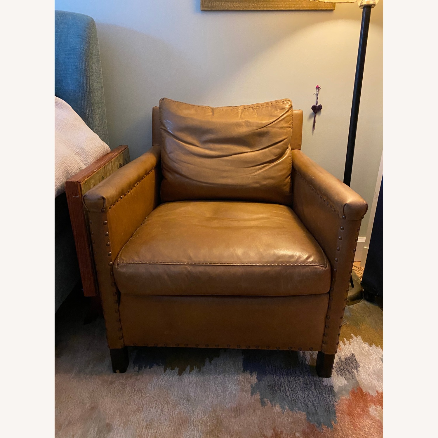 Crate & Barrel Soft Brown Leather Armchair - image-4