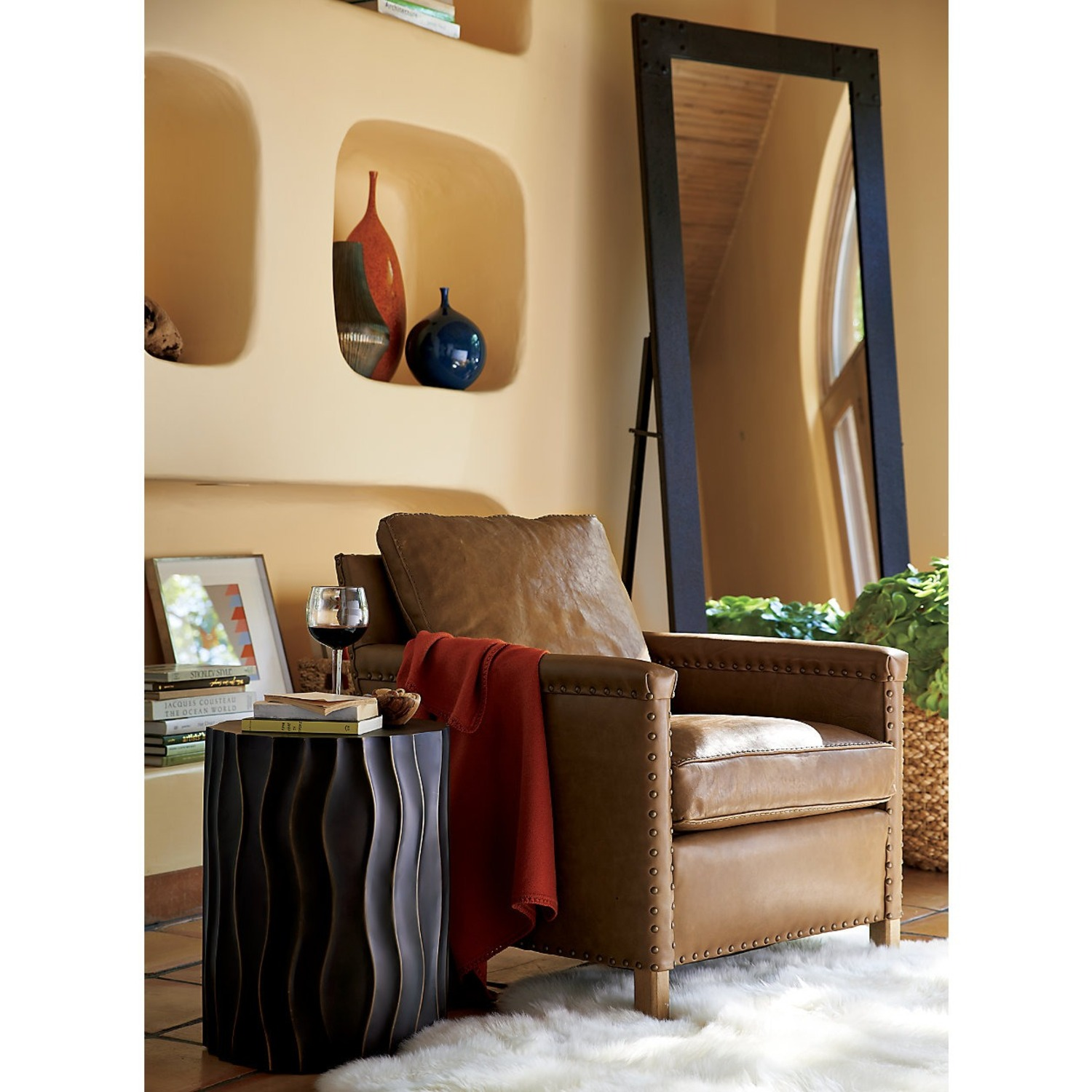 Crate & Barrel Soft Brown Leather Armchair - image-2
