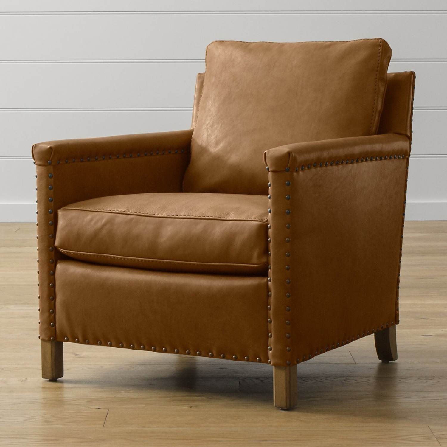 Crate & Barrel Soft Brown Leather Armchair - image-1