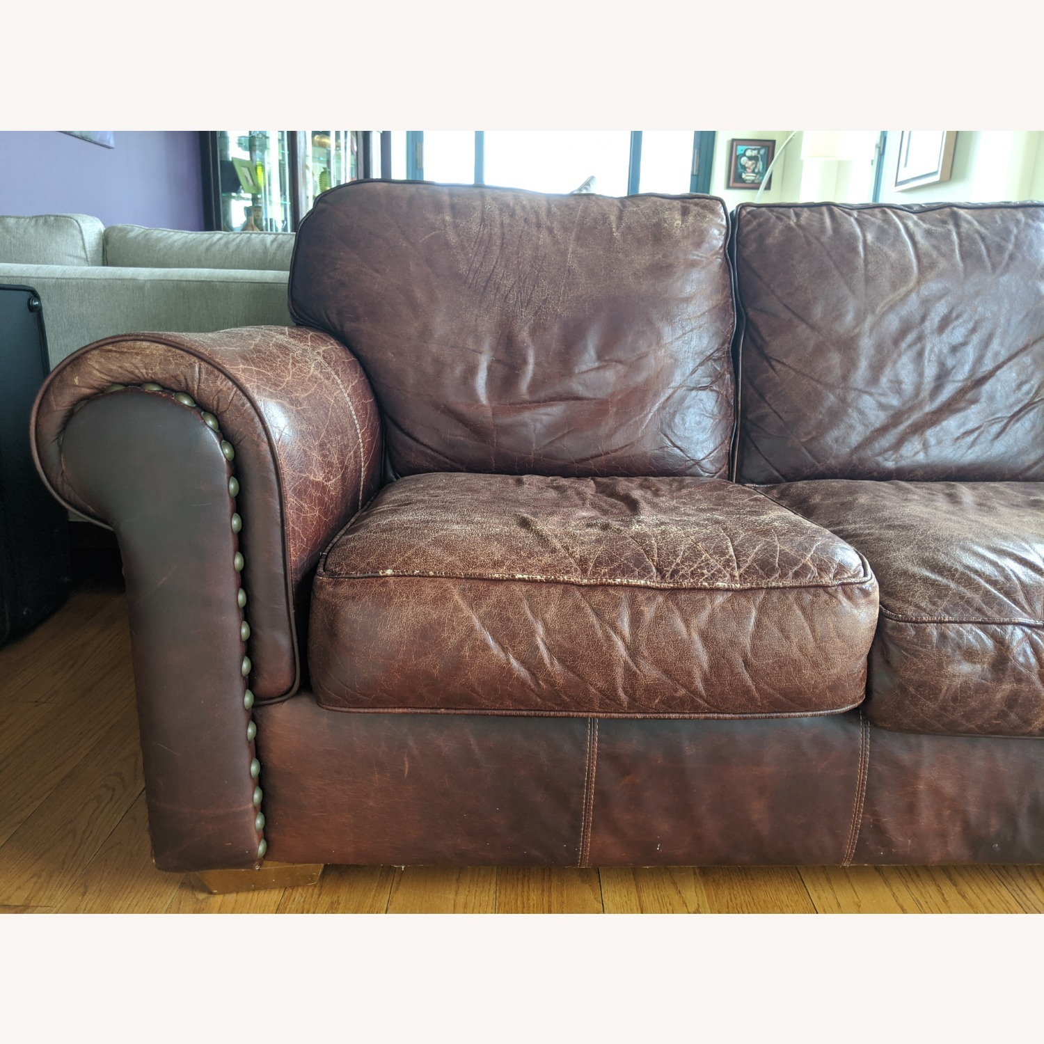 Brown Leather Bauhaus Sofa - image-2