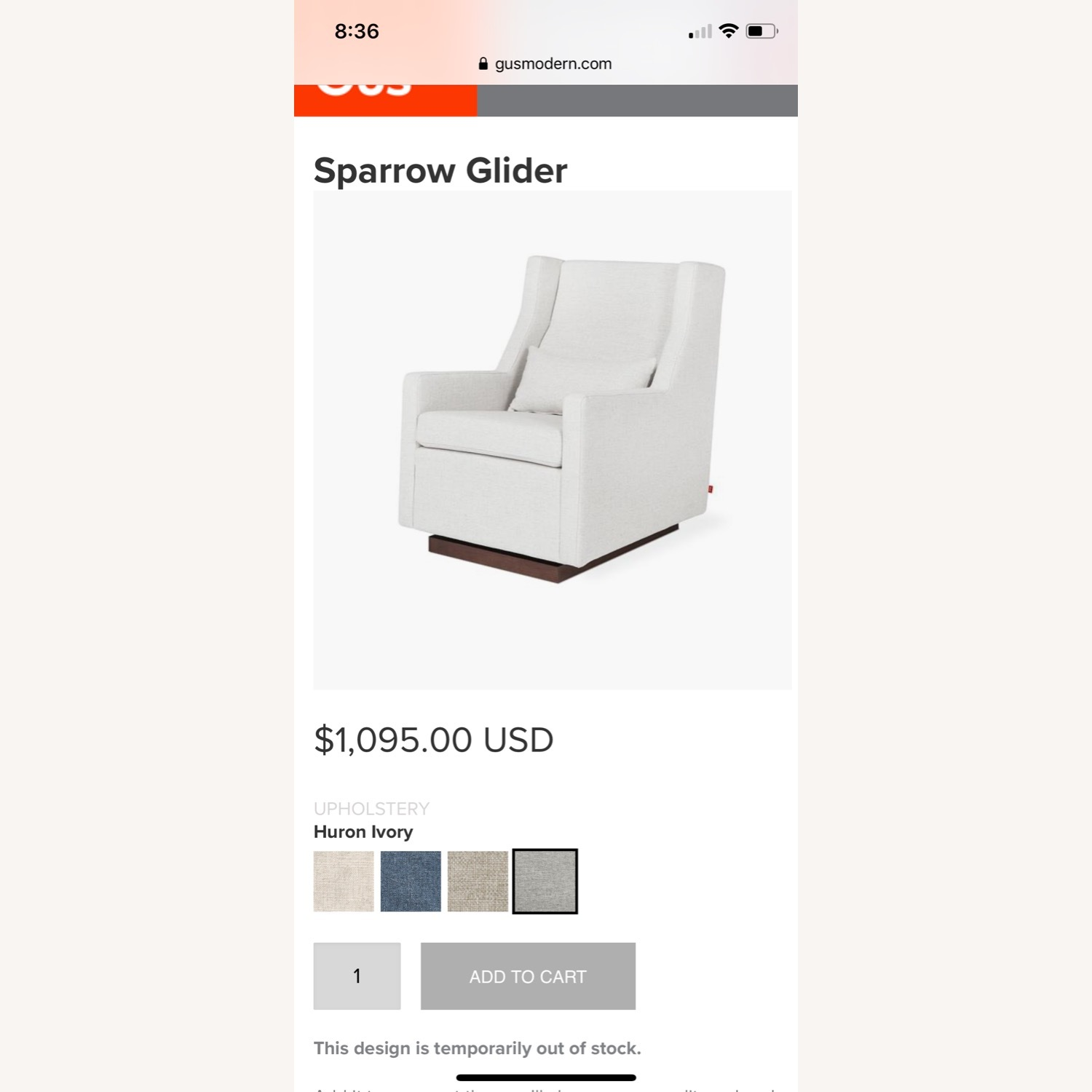 Light Gray Glider with Ottoman - image-3