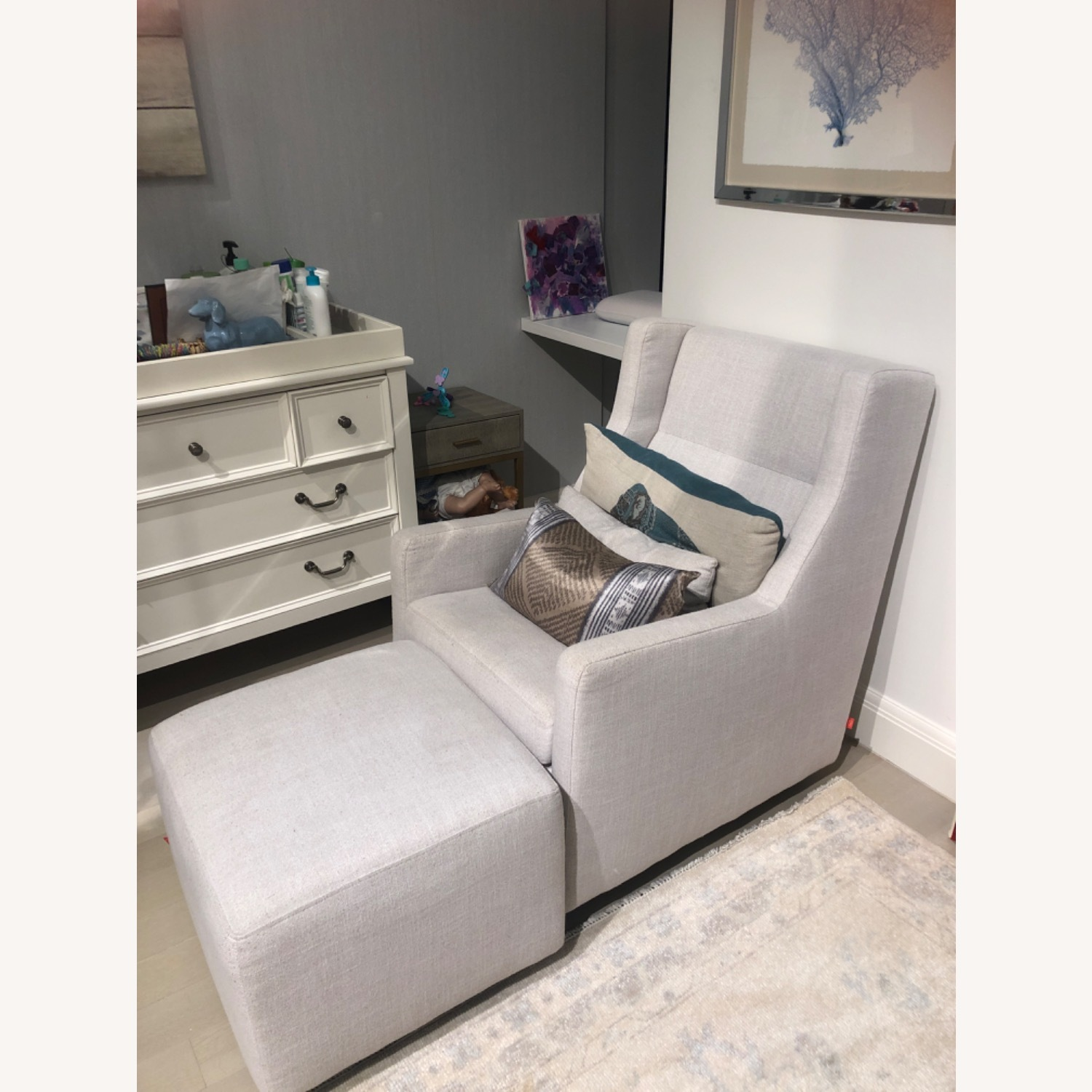 Light Gray Glider with Ottoman - image-2