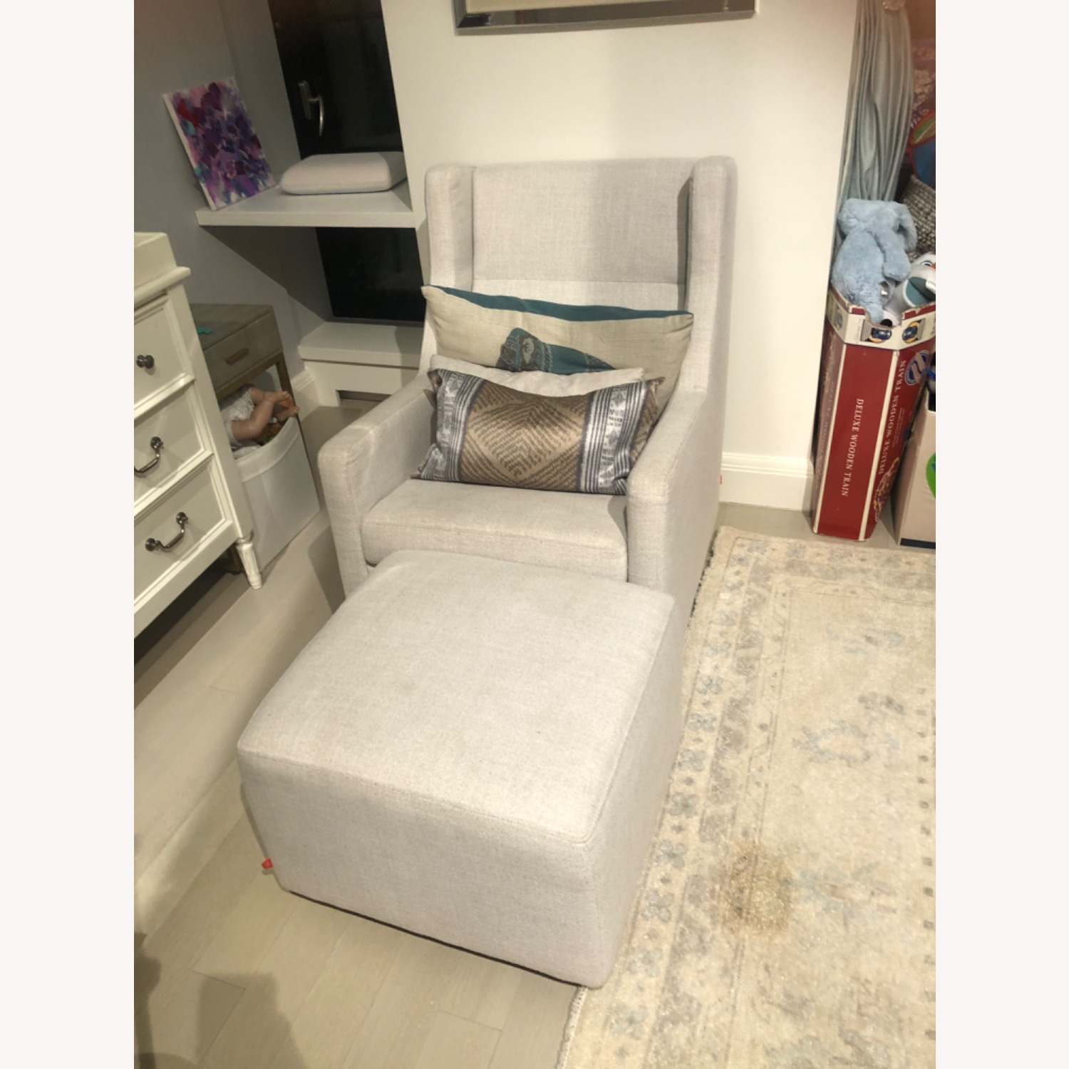 Light Gray Glider with Ottoman - image-1