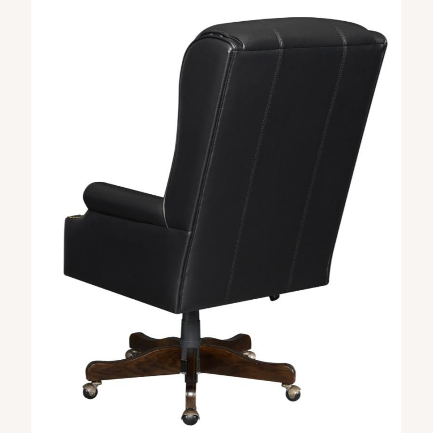 Office Chair Upholstered In Black Leatherette - image-3