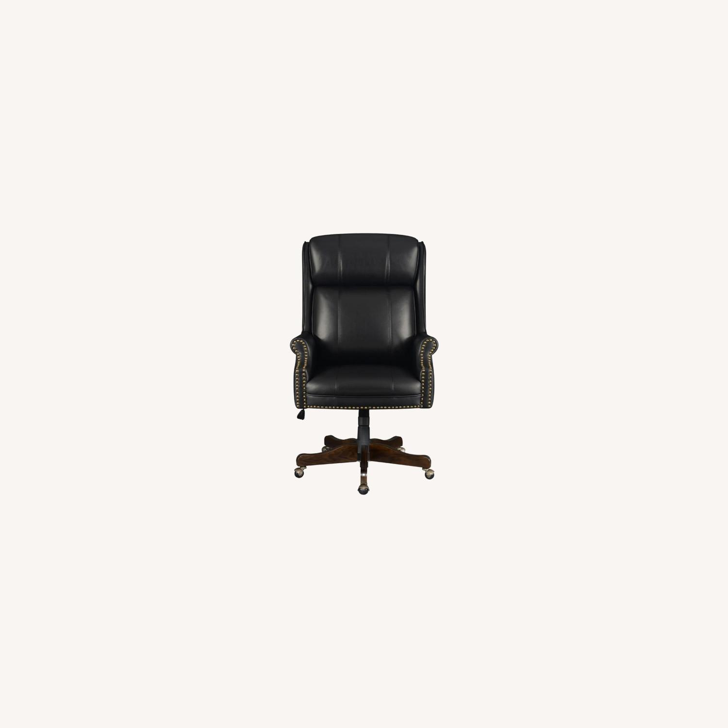 Office Chair Upholstered In Black Leatherette - image-5