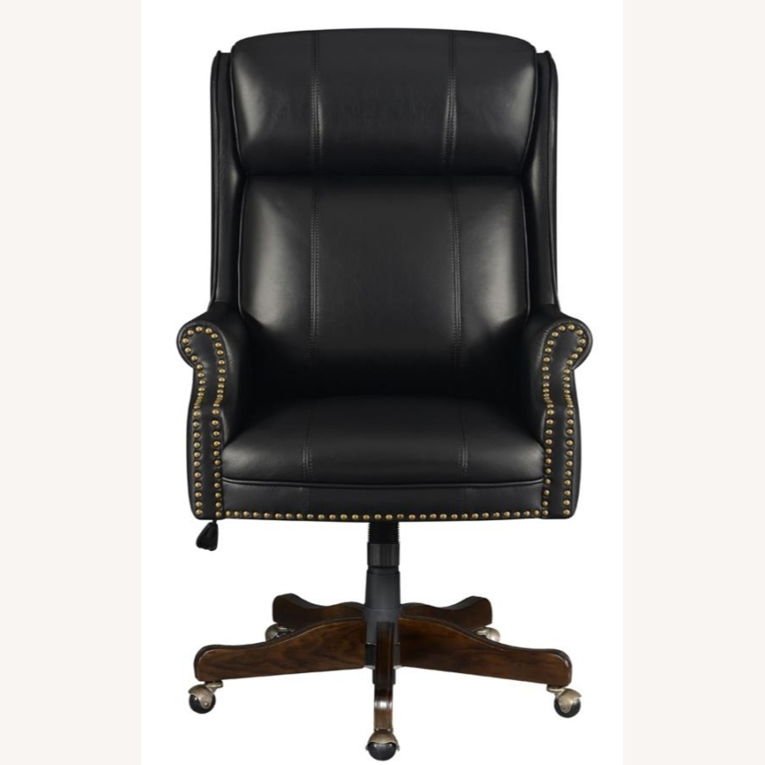 Office Chair Upholstered In Black Leatherette - image-1