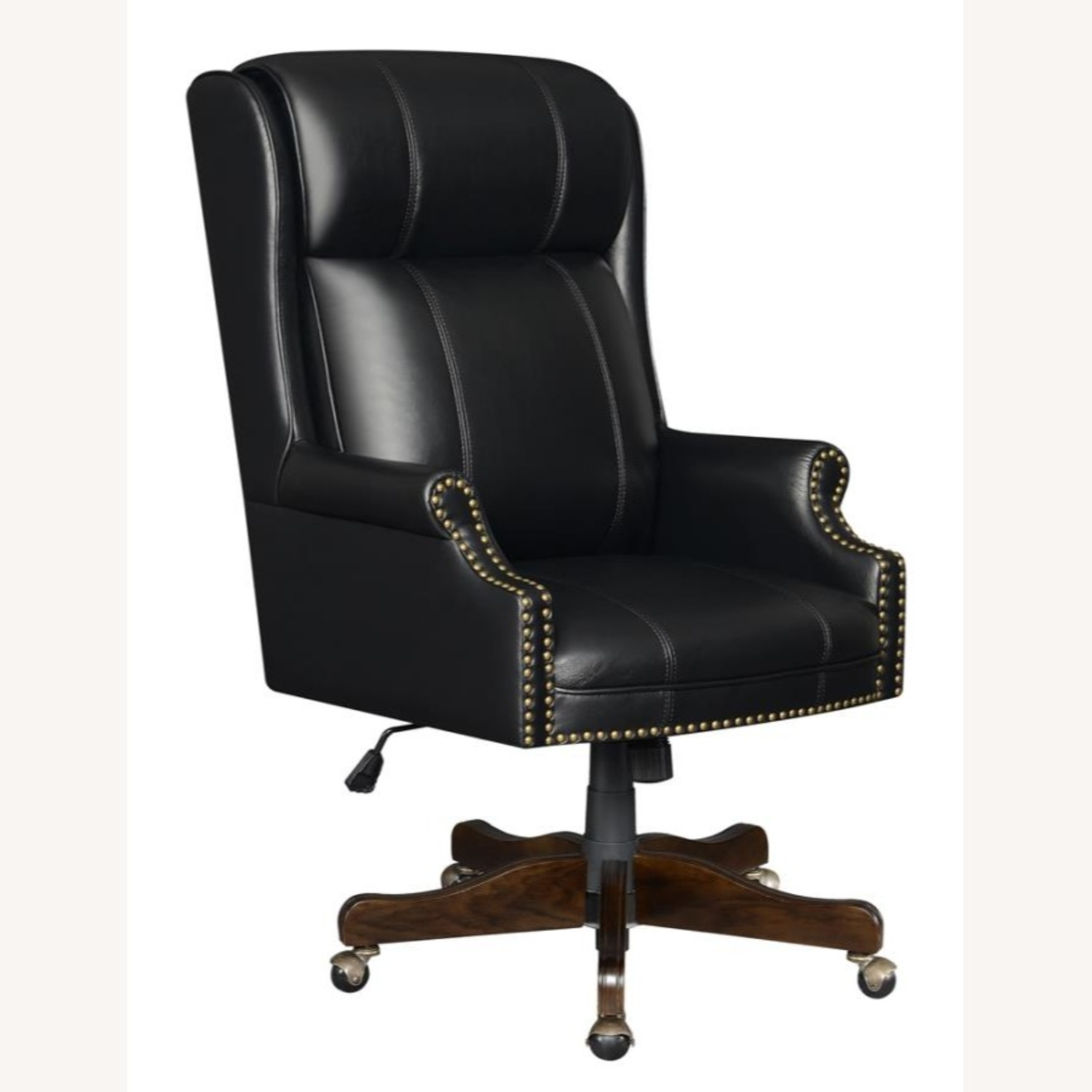 Office Chair Upholstered In Black Leatherette - image-0