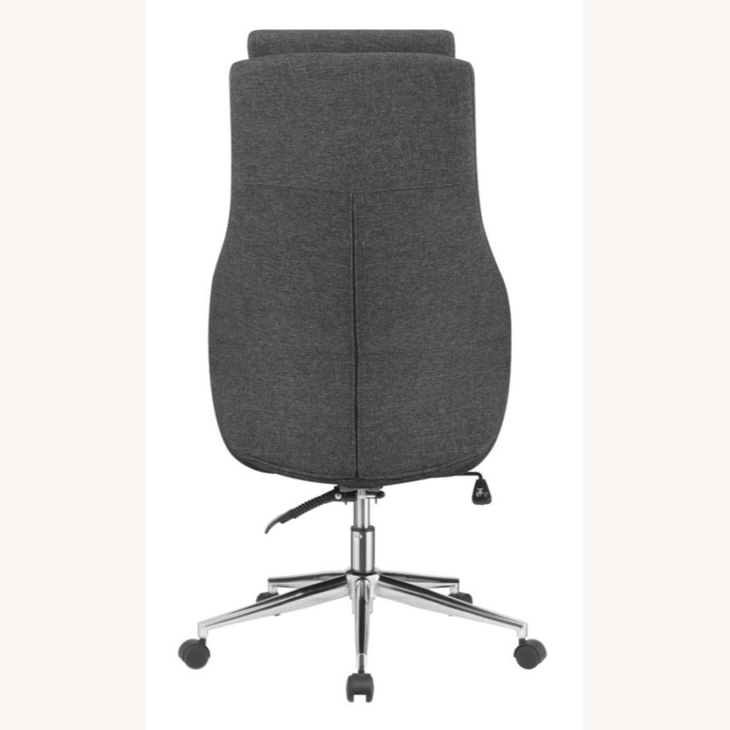 Office Chair In Grey Finish W/ Chrome Metal Base - image-2