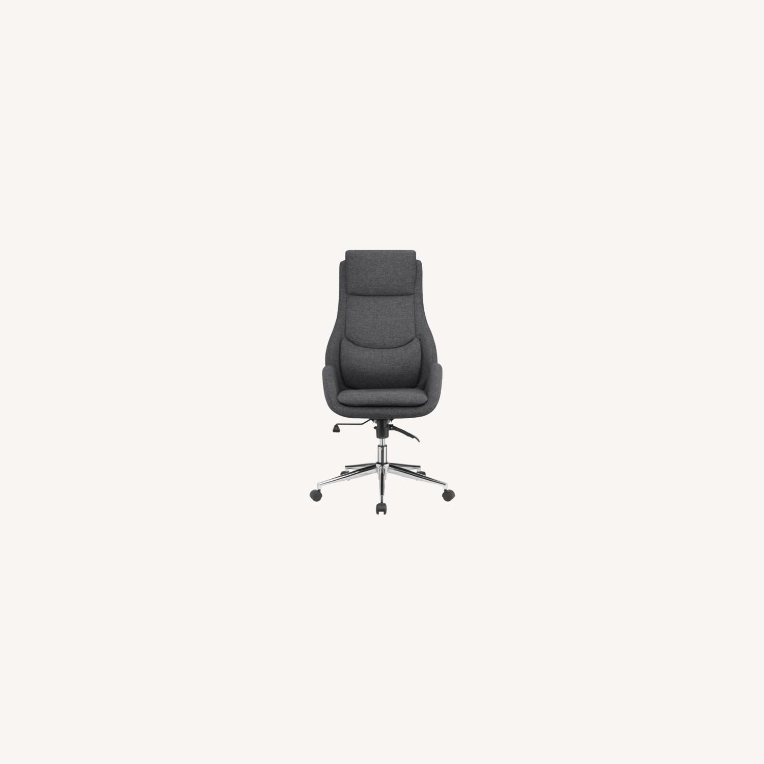 Office Chair In Grey Finish W/ Chrome Metal Base - image-5