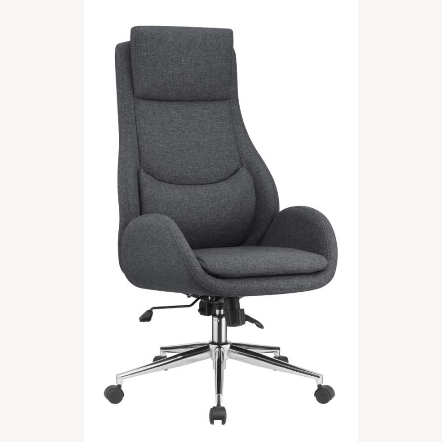 Office Chair In Grey Finish W/ Chrome Metal Base - image-0