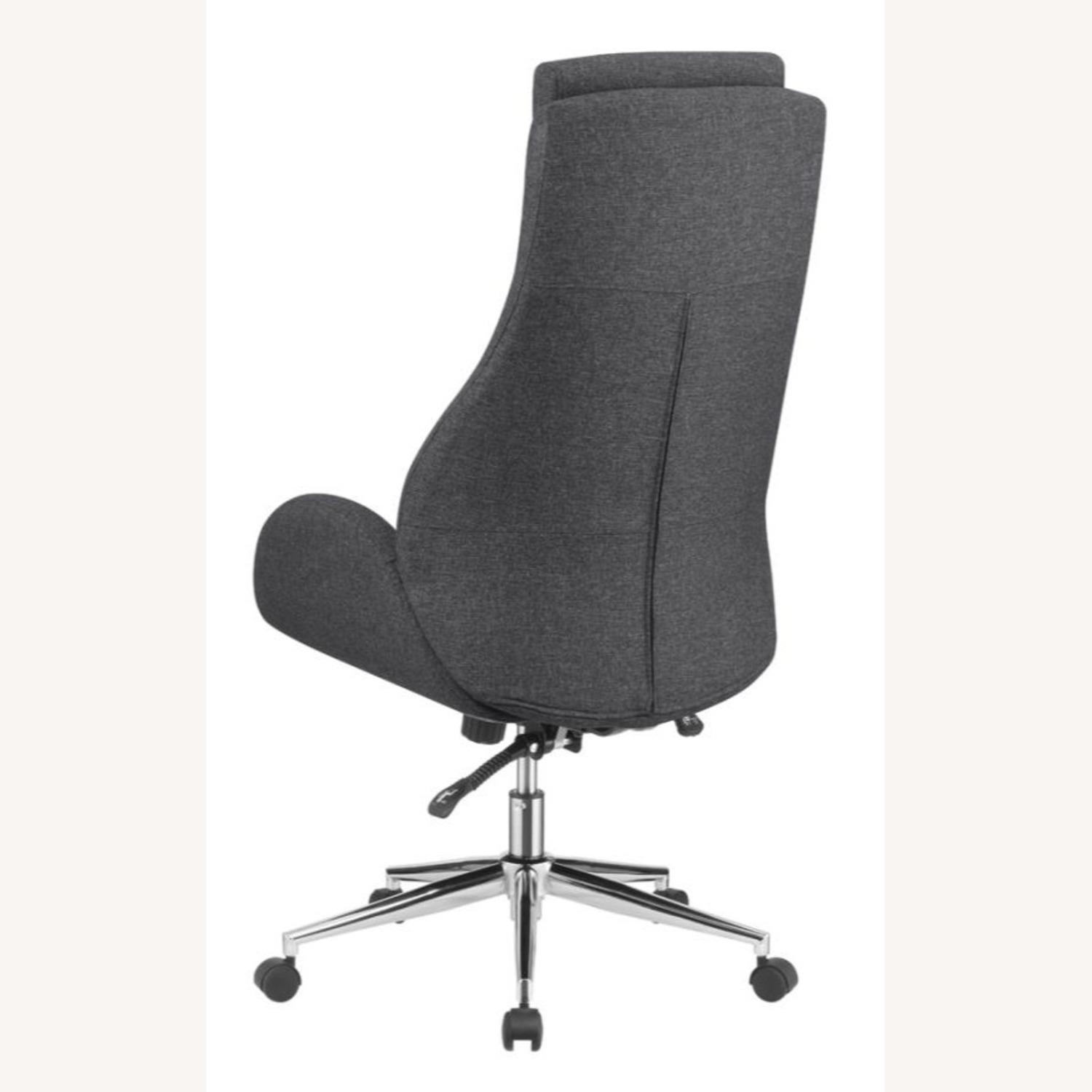 Office Chair In Grey Finish W/ Chrome Metal Base - image-3