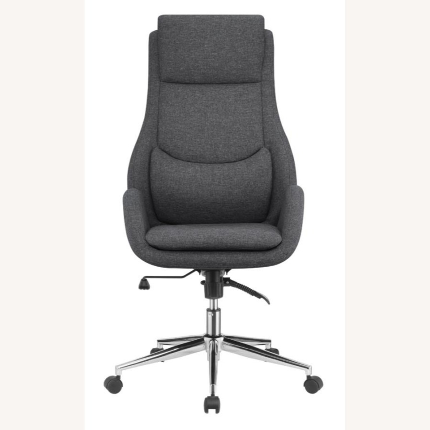 Office Chair In Grey Finish W/ Chrome Metal Base - image-1
